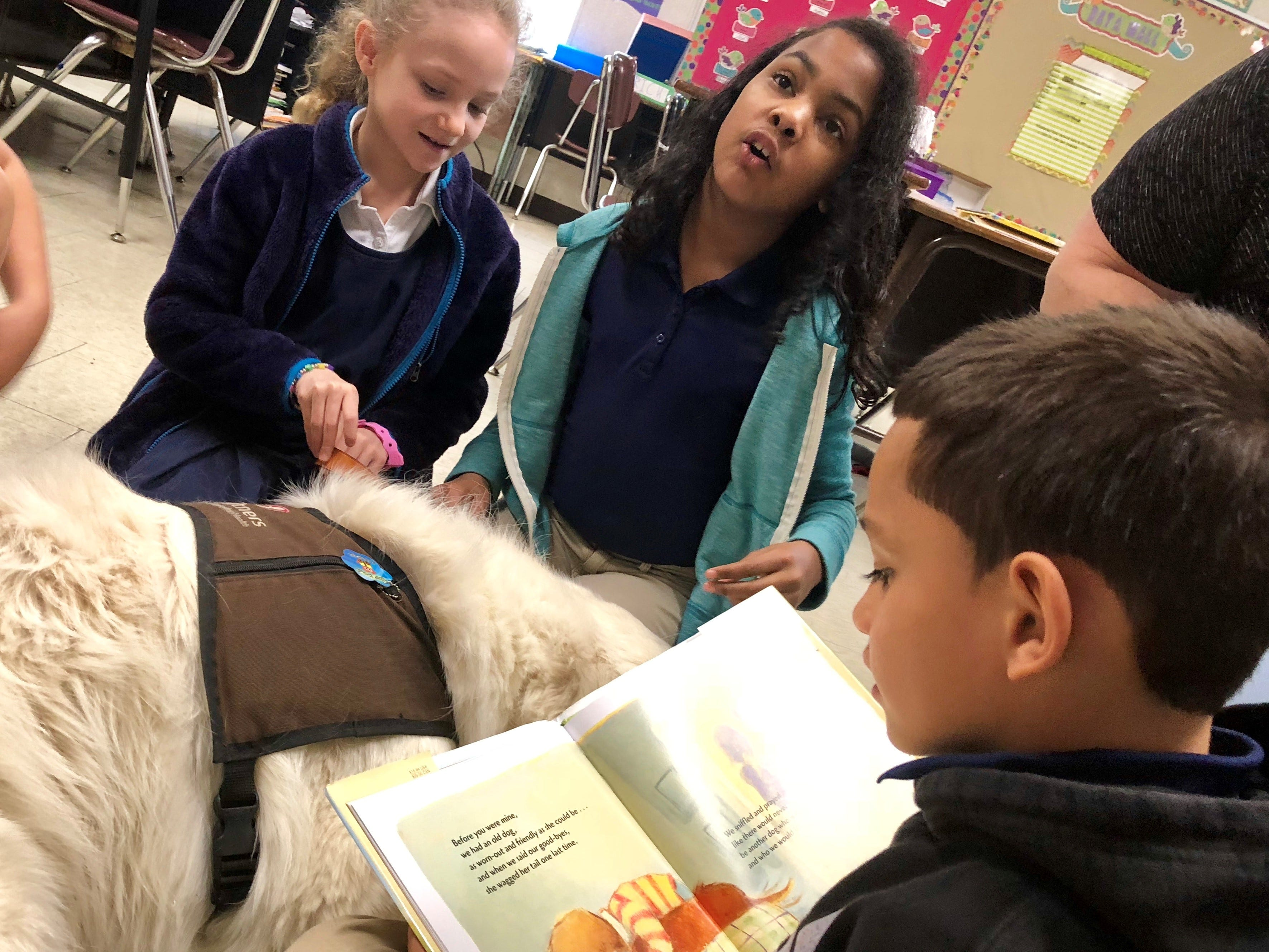 """Prairie Elementary second-graders read a book called """"Before You Were Mine"""" to therapy dog Solomon, a 4-year-old Great Pyrenees with Pet Partners, Wednesday."""