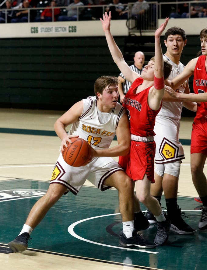 Berne Union's Zane Mirgon drives to the basket during Tuesday's Division IV Regional Semifinal game, March 12, 2019, at the Ohio University Convocation Center in Athens. The Rockets lost the game to Glenwood 69-64.