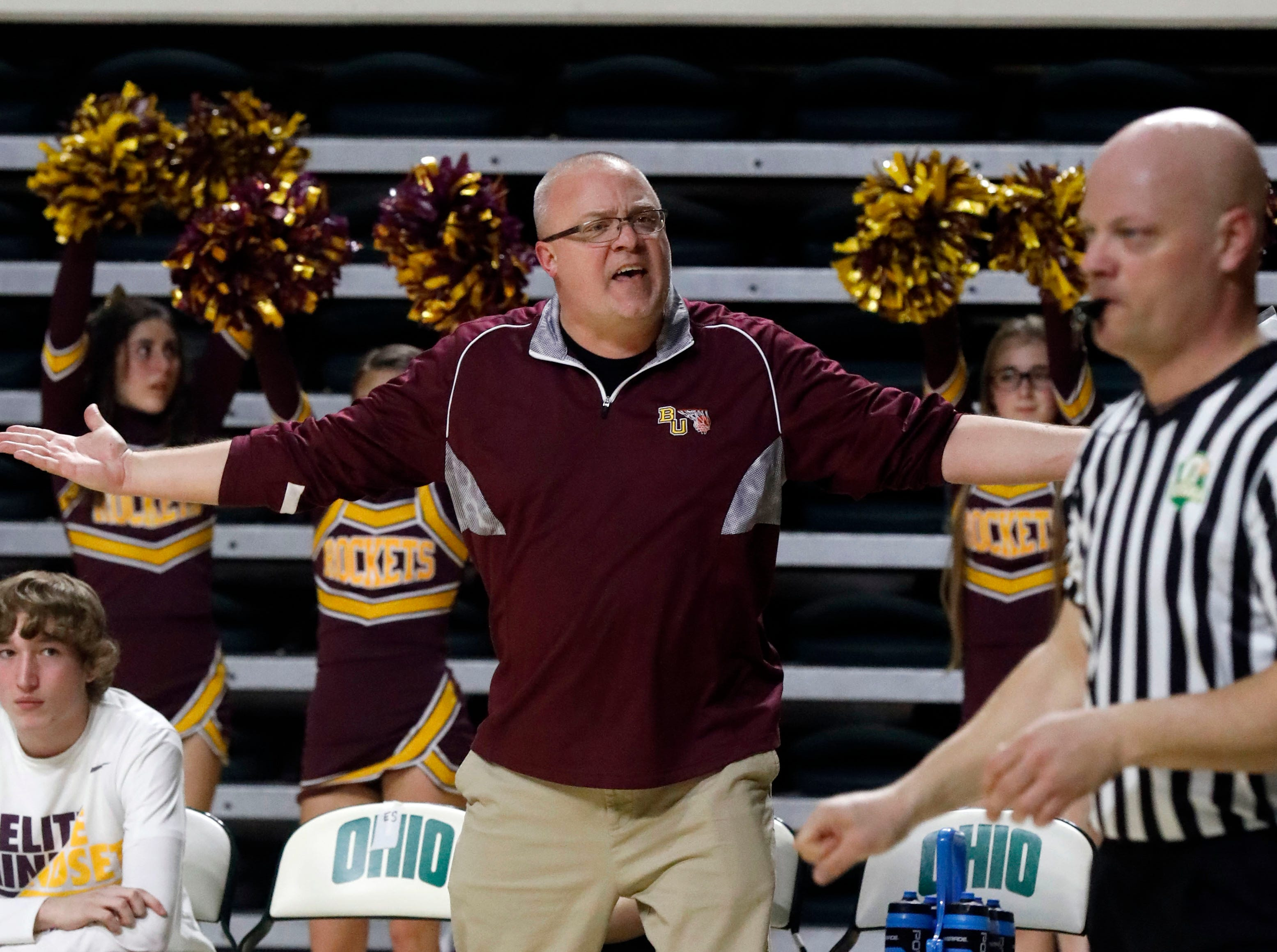 Berne Union Coach Matt Little yells at an official during the second half of Tuesday night's Division IV Regional Semifinal, March 12, 2019, at the Ohio University Convocation Center in Athens.