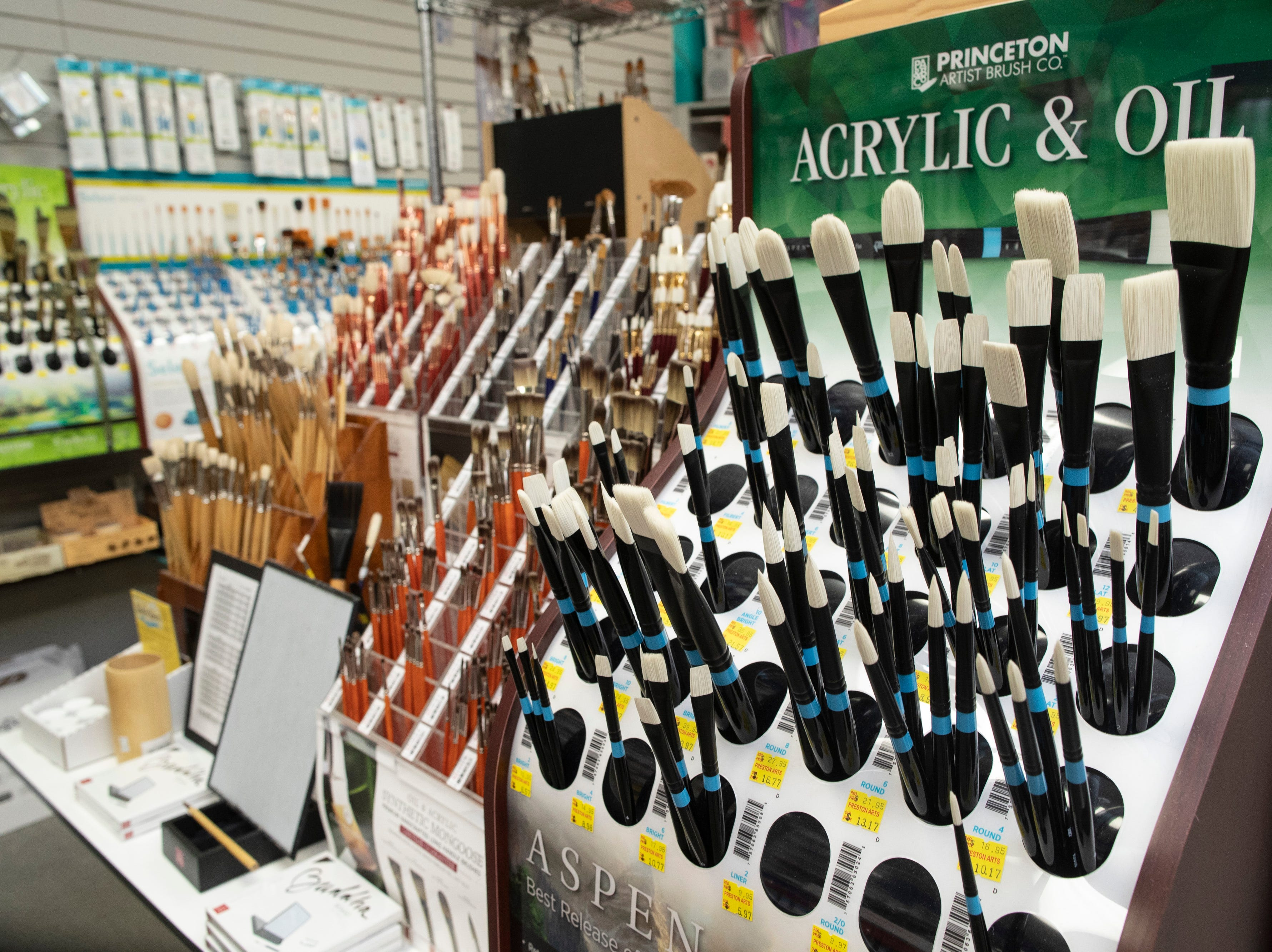 Acrylic and oil brushes for sale inside the Preston Arts Center store on Bardstown Road. In June a new store is planned to open in Jeffersonville, Indiana. March 12, 2019