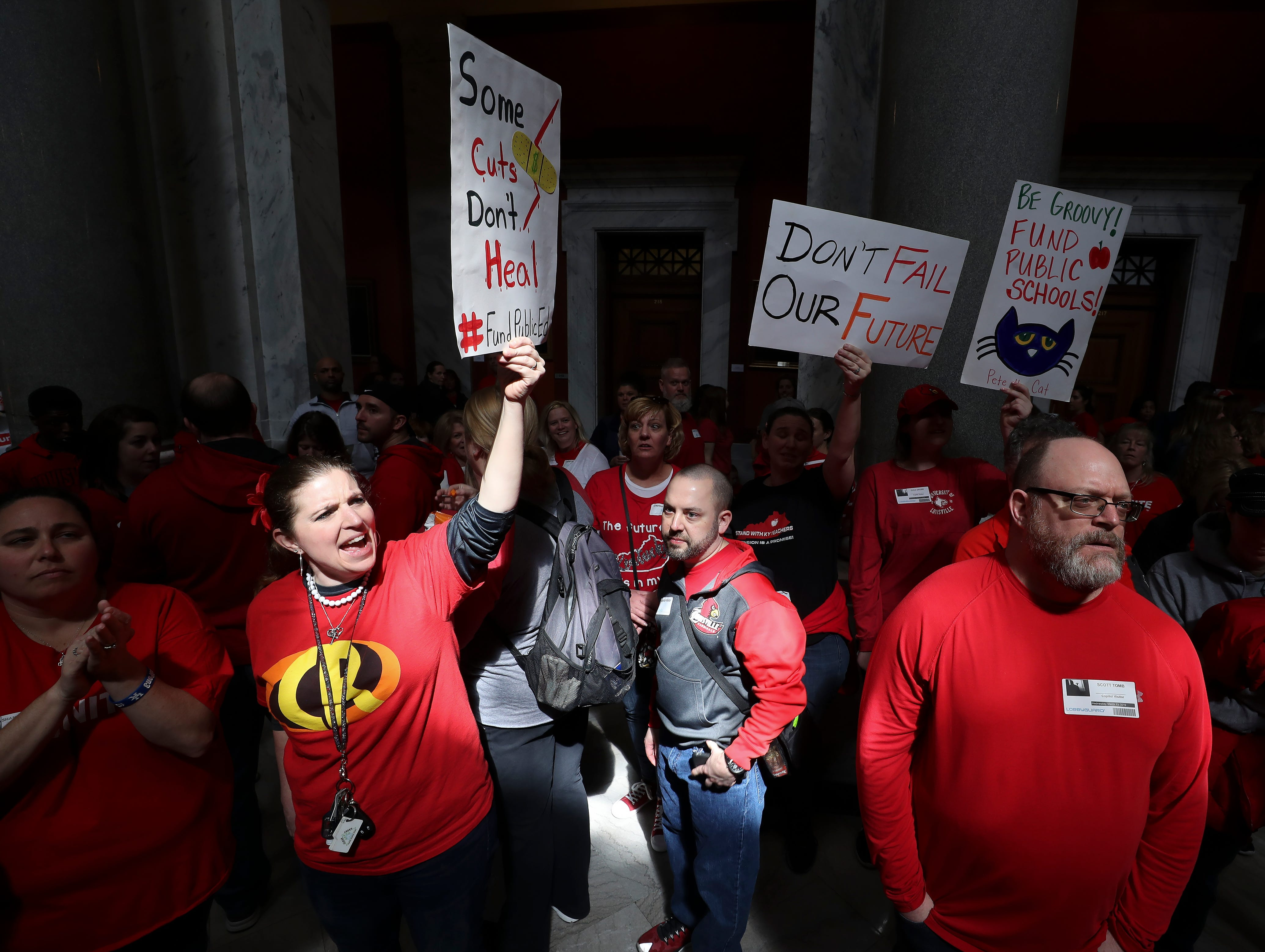 Faith Ashton, a teacher at Coral Ridge Elementary School in Louisville, protested bills under consideration that she believes will harm education in the state and reduce pensions. March 13, 2019