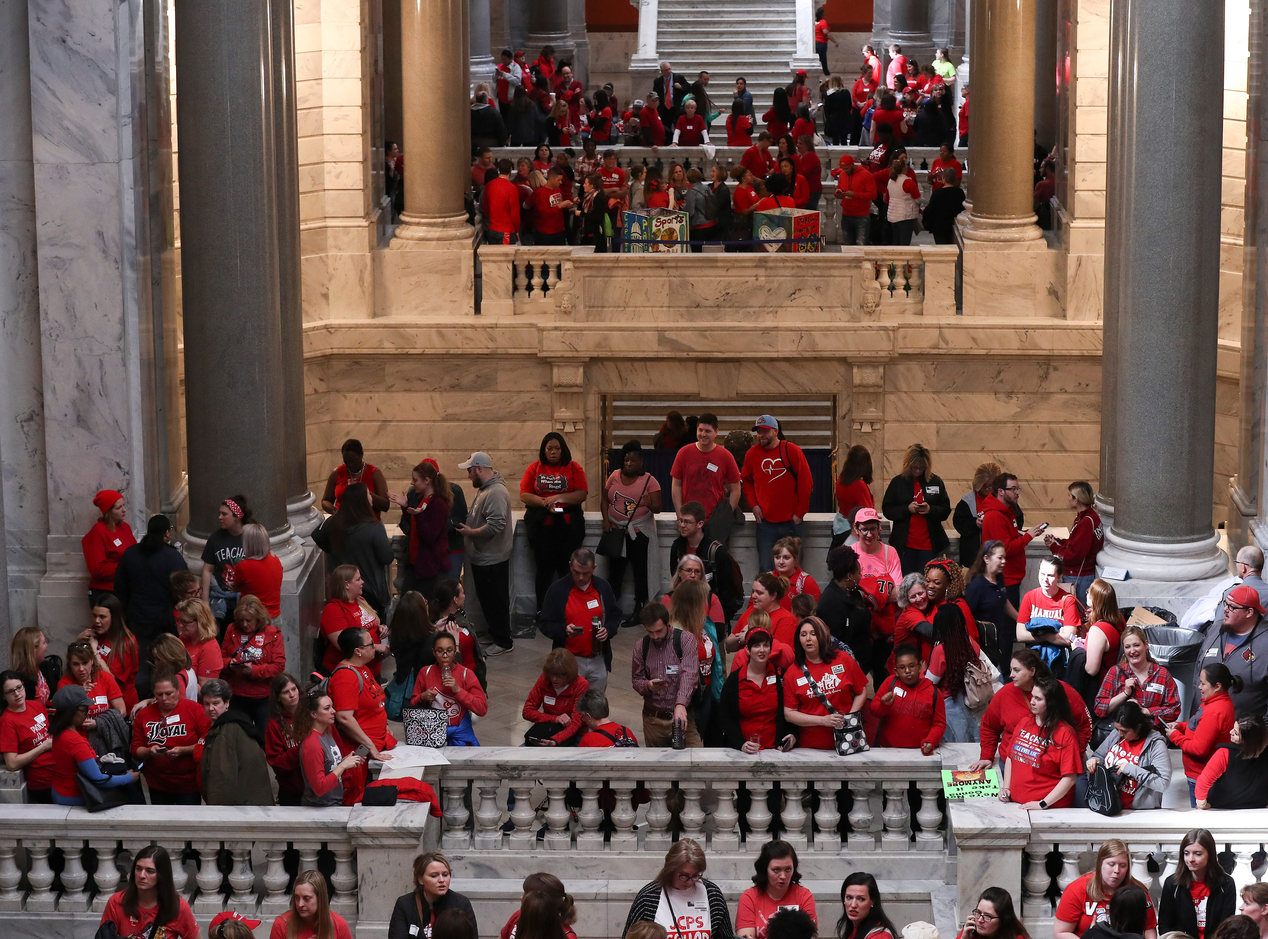 Teachers and students protested a number of bills under consideration that they believe will harm education in the state and reduce pensions in Frankfort. March 13, 2019