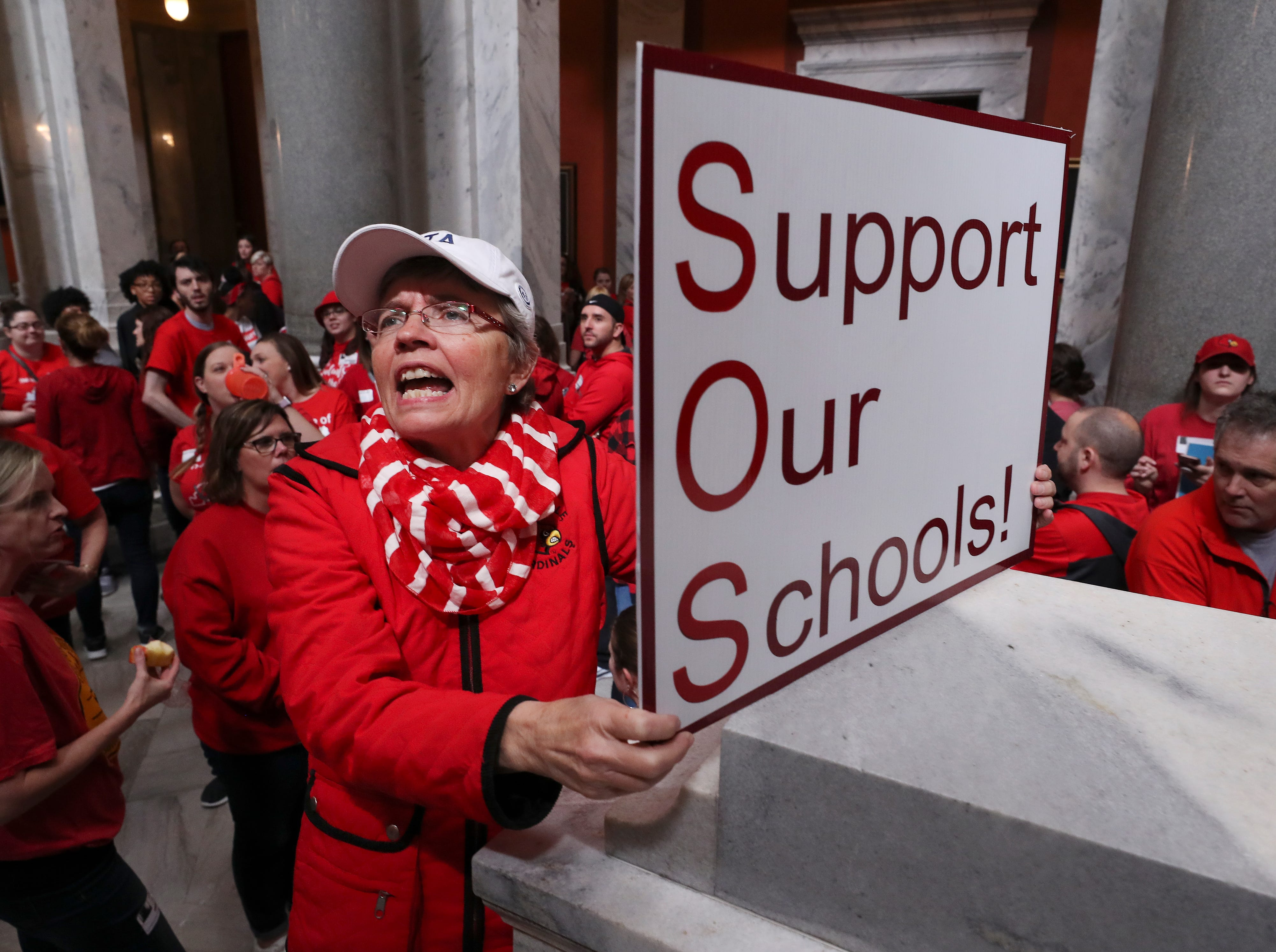 Karen Schwartz, a teacher at Phoenix School of Discovery in Louisville, protested bills under consideration that she believes will harm education in the state and reduce pensions. March 13, 2019