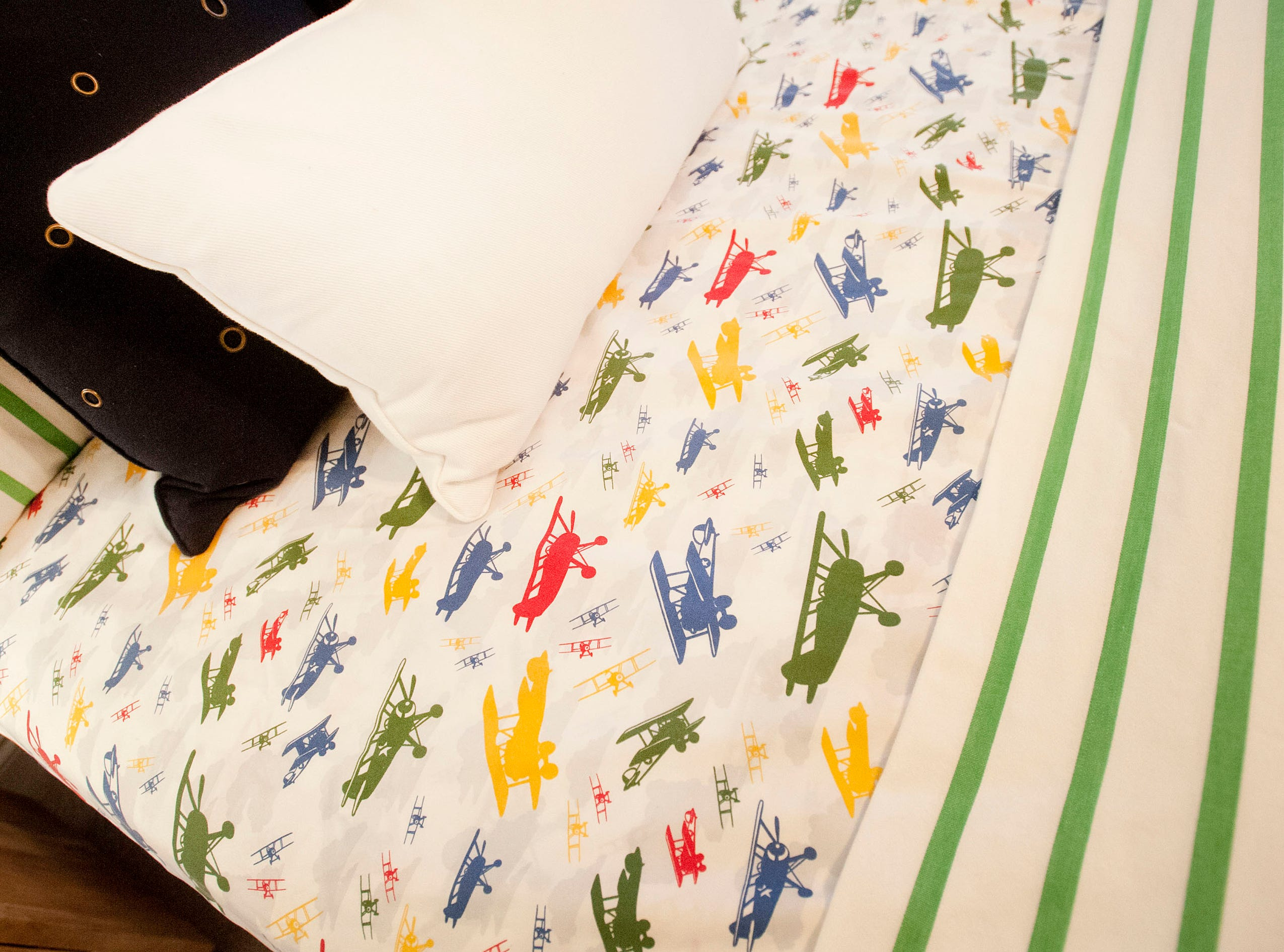 Ellis Hanna's airplane-themed bedroom on the 2nd floor includes airplane sheets.01 March 2019