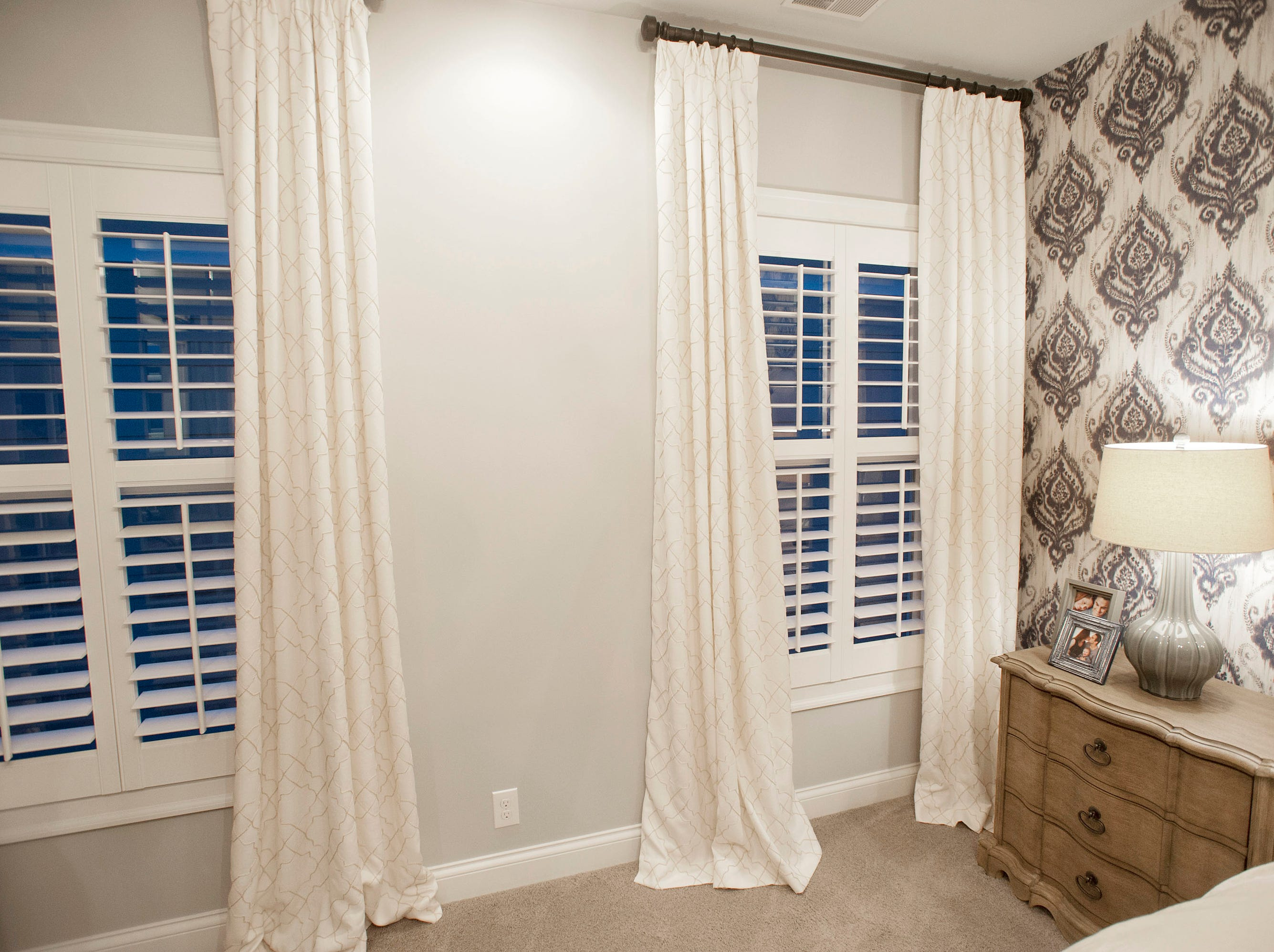 A custom window treatment in the 2nd floor Hannah master bedroom.01 March 2019