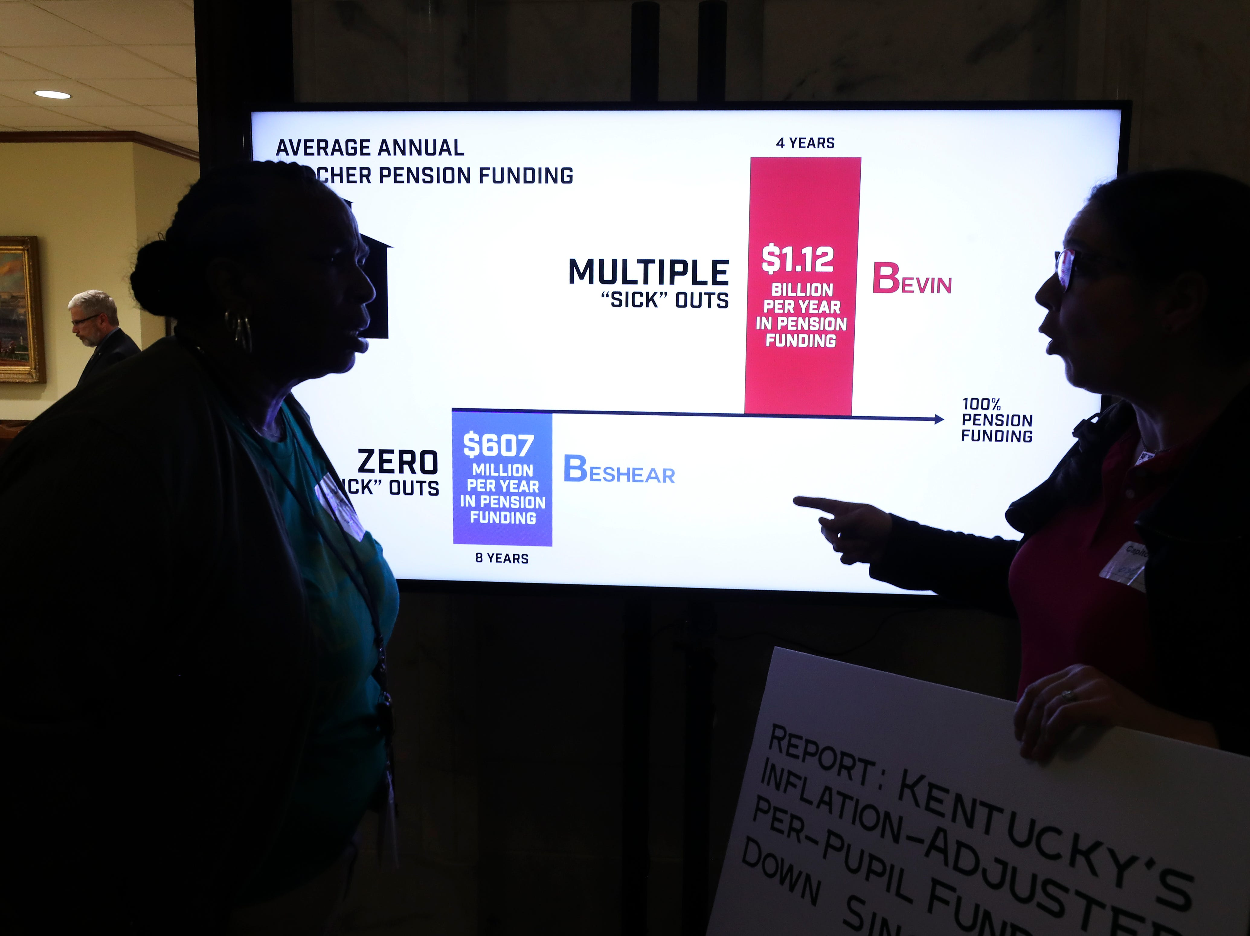 Lauren Fogle, right, a teacher at Shacklette Elementary School in Louisville, spoke to Tayna Fogle, of Kentuckians for the Commonwealth, in front of a monitor outside Gov. Matt Bevin's office. March 13, 2019