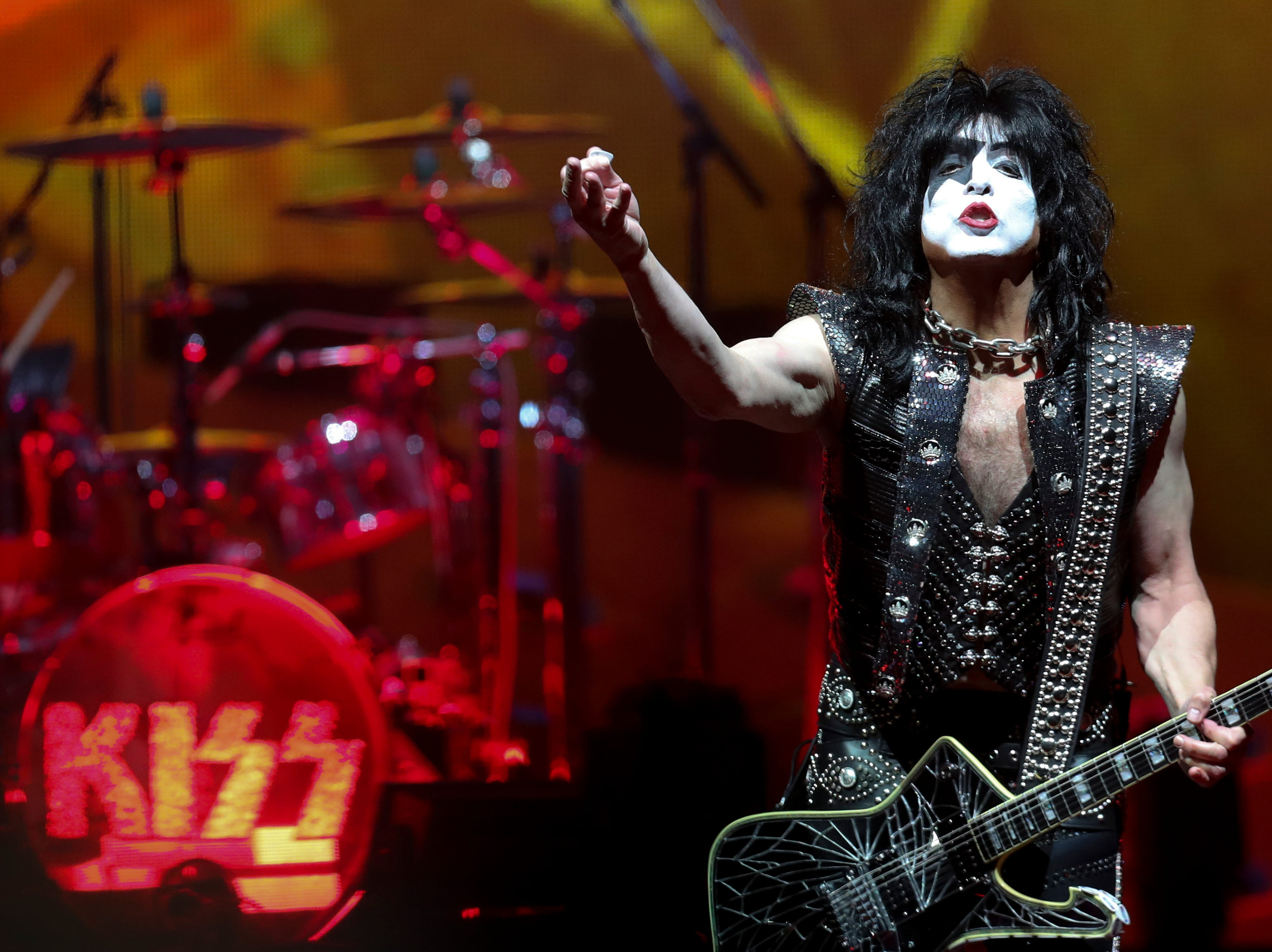 Paul Stanley of KISS entertains the crowd at the KFC Yum Center on March 12.