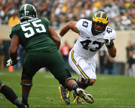 Michigan Wolverines defensive end Chris Wormley (43) rushes as Michigan State Spartans offensive lineman Miguel Machado (55) defends during the first half at Spartan Stadium.