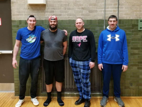 Two Rivers volleyball tournament men's champions for 2019 are, from left:Jace Shively, Justin Bovee (MVP), Russian Ortiz andLester Zielicke