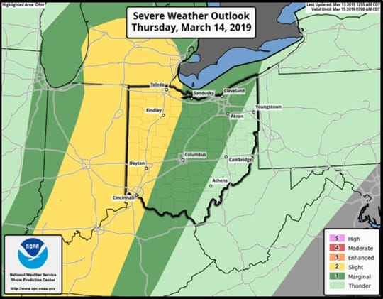 There's a marginal chance a tornado could be produced Thursday, according to the National Weather Service.