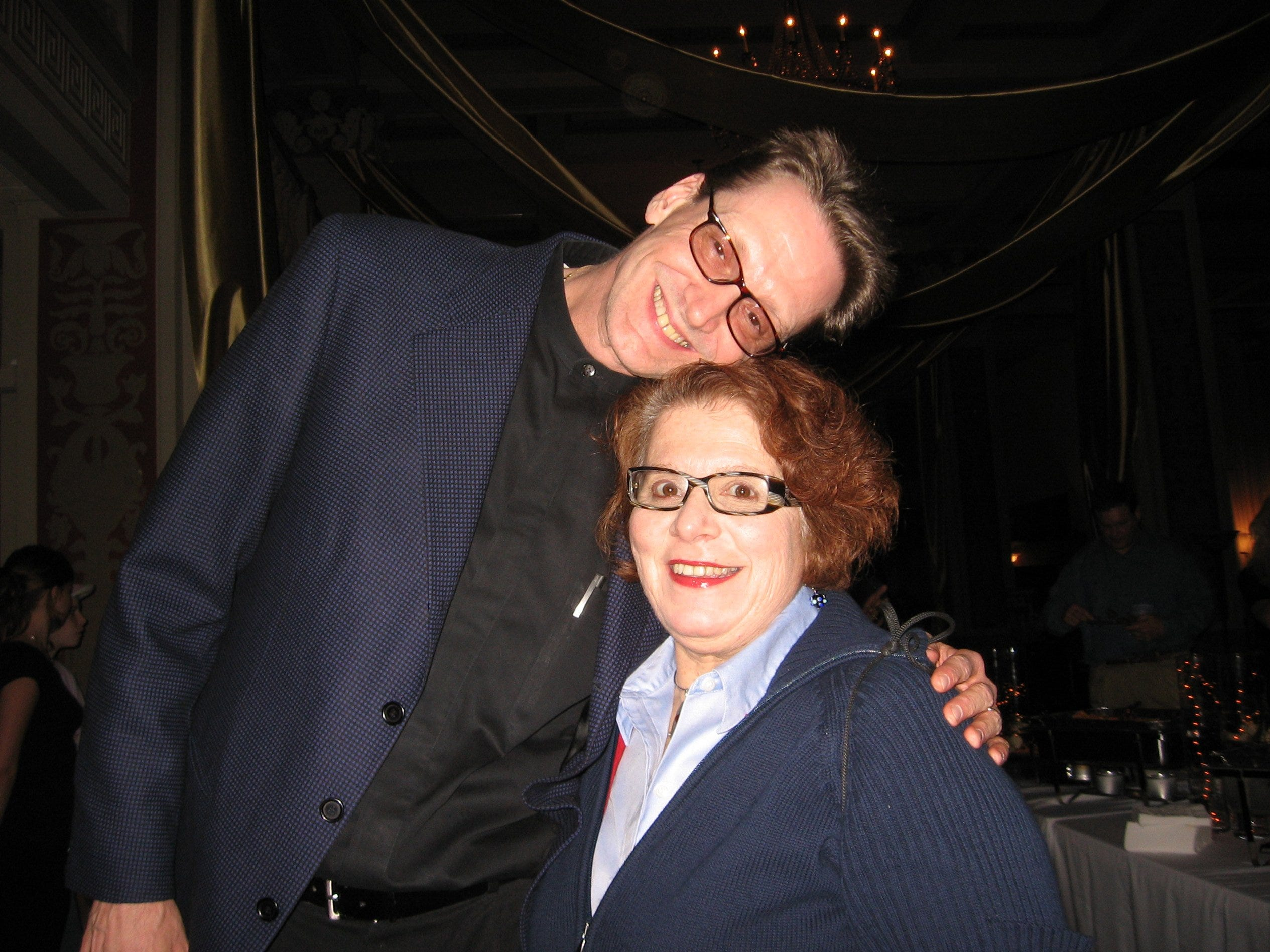 John Kilzer, left, performed at the CD release party for Larry Finch. With him is Judy Peiser.