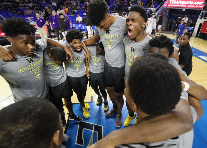 Whitehaven players huddle up before playing Sevier County during the TSSAA Division I basketball state tournament at the Murphy Center in Murfreesboro, Tenn. on Wednesday, March 13, 2019.