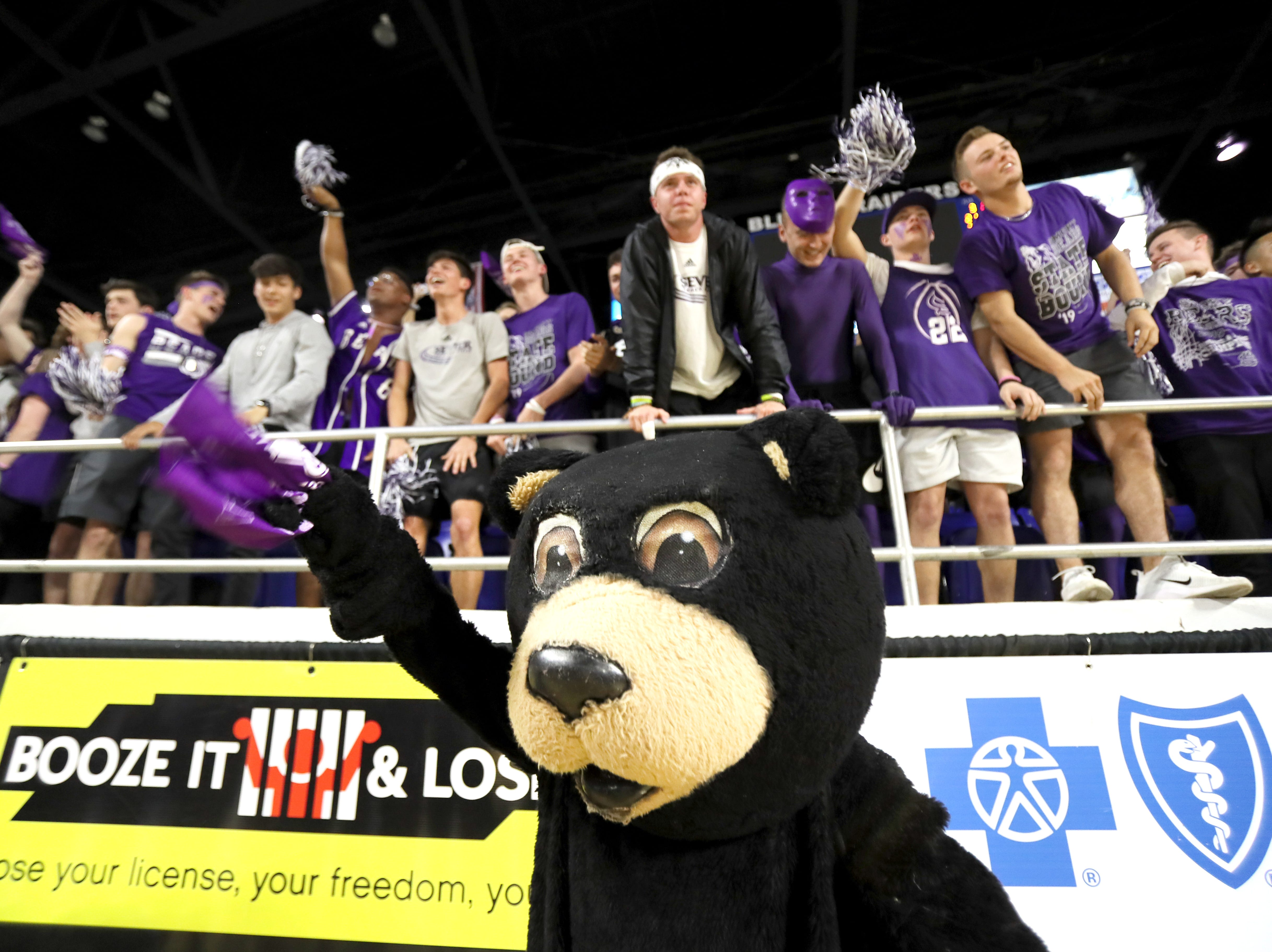 Sevier County's mascott cheers on their team as they play Whitehaven during the TSSAA Division I basketball state tournament at the Murphy Center in Murfreesboro, Tenn. on Wednesday, March 13, 2019.