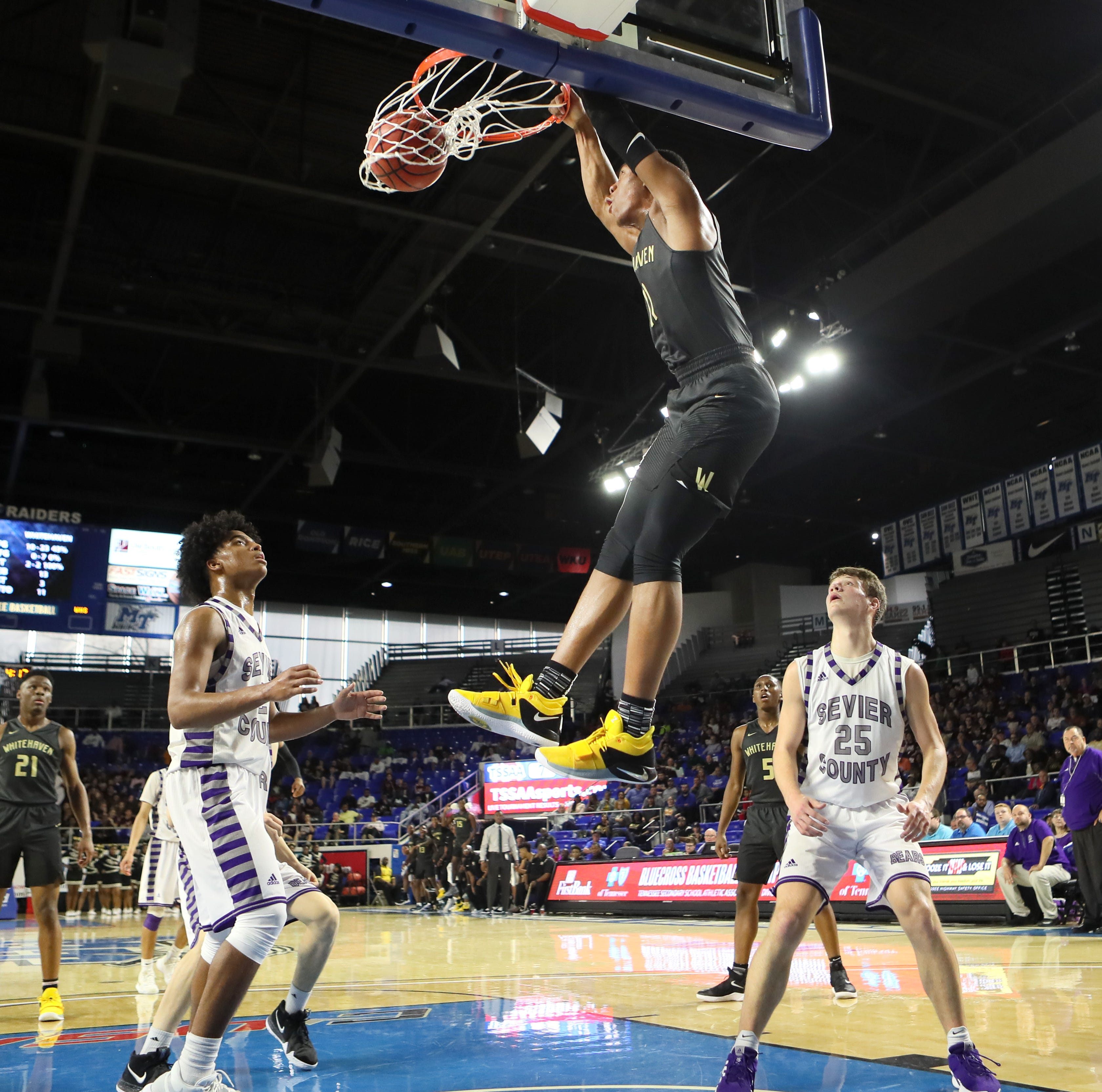 Whitehaven's Matthew Murrell throws down three dunks in state tournament debut