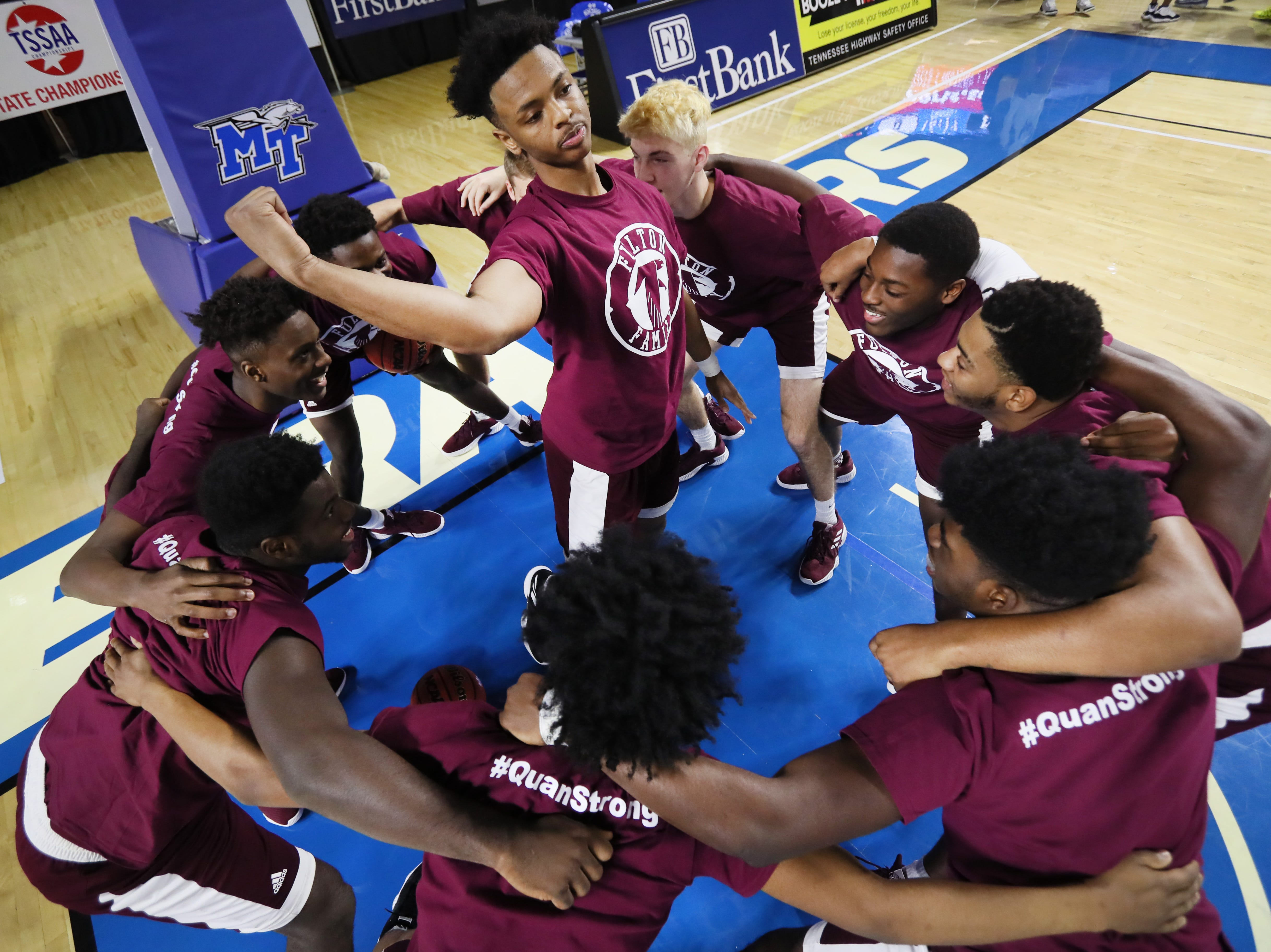 Fulton players huddle up before they take on Mitchell during their TSSAA Division I basketball state tournament in Murfreesboro on Wednesday, March 13, 2019.