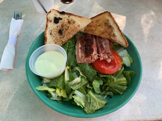 The ahi tuna salad from Dolphin Tiki Bar & Grill, Marco Island.