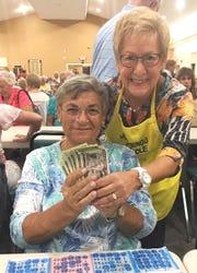 Ruby Schwarzschild, with Bingo committee member Carol Atkin, was JCMI's big winner this week.