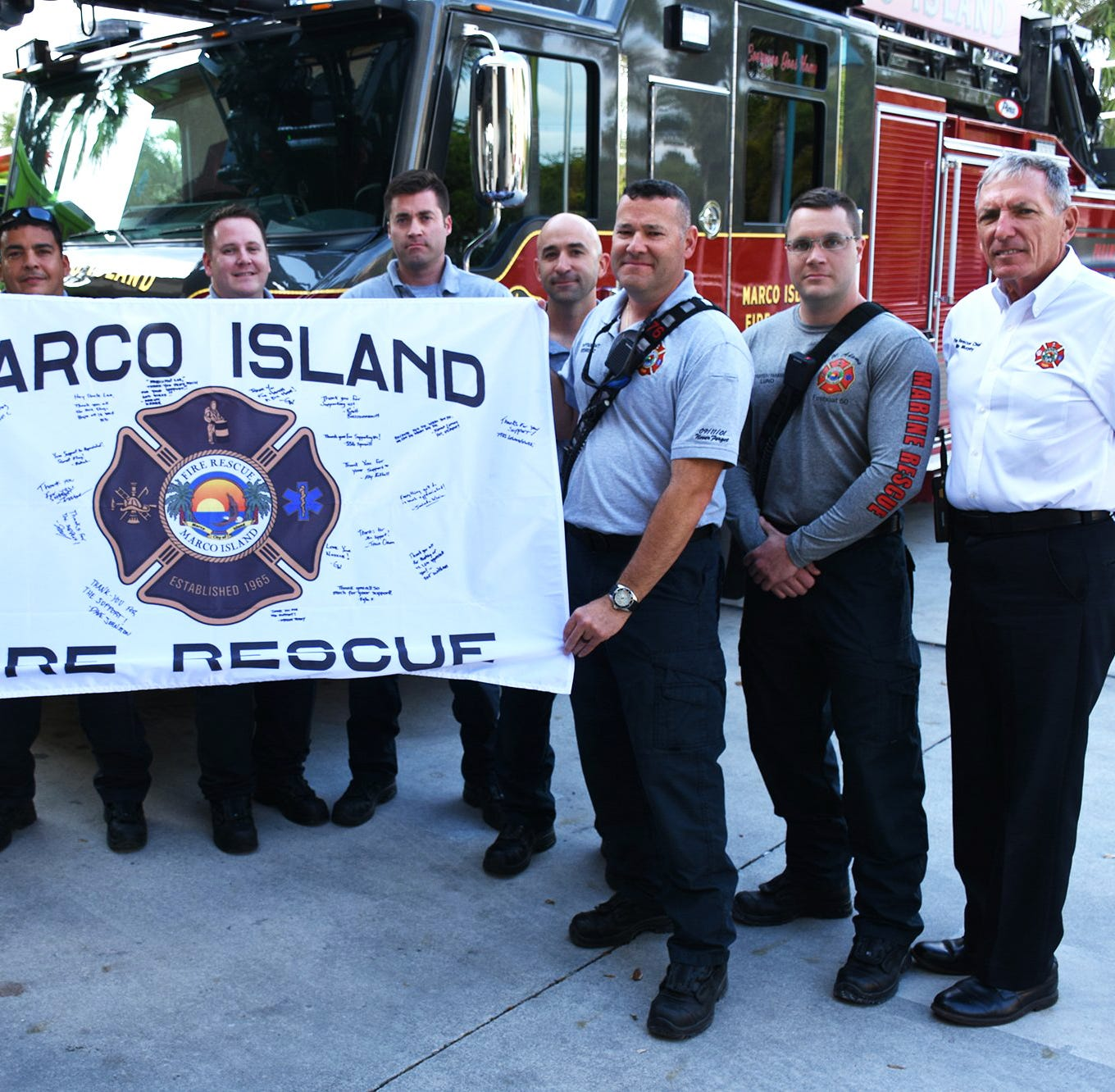 Soldiers' gift to Marco's firefighters