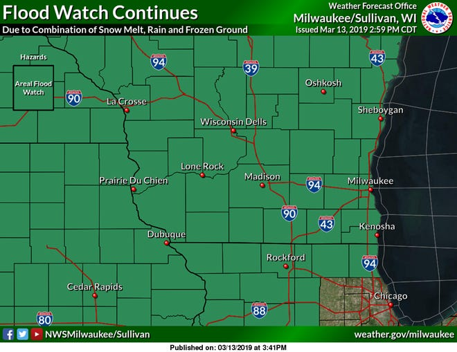 A flood watch is in effect for much of the state of Wisconsin as the region's snowpack rapidly melts amid warm temperatures.