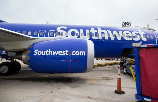 A Southwest Airlines Boeing 737 Max 8 is shown in 2018 at Milwaukee Mitchell International Airport. The Boeing 737 MAX 8 has been grounded worldwide.