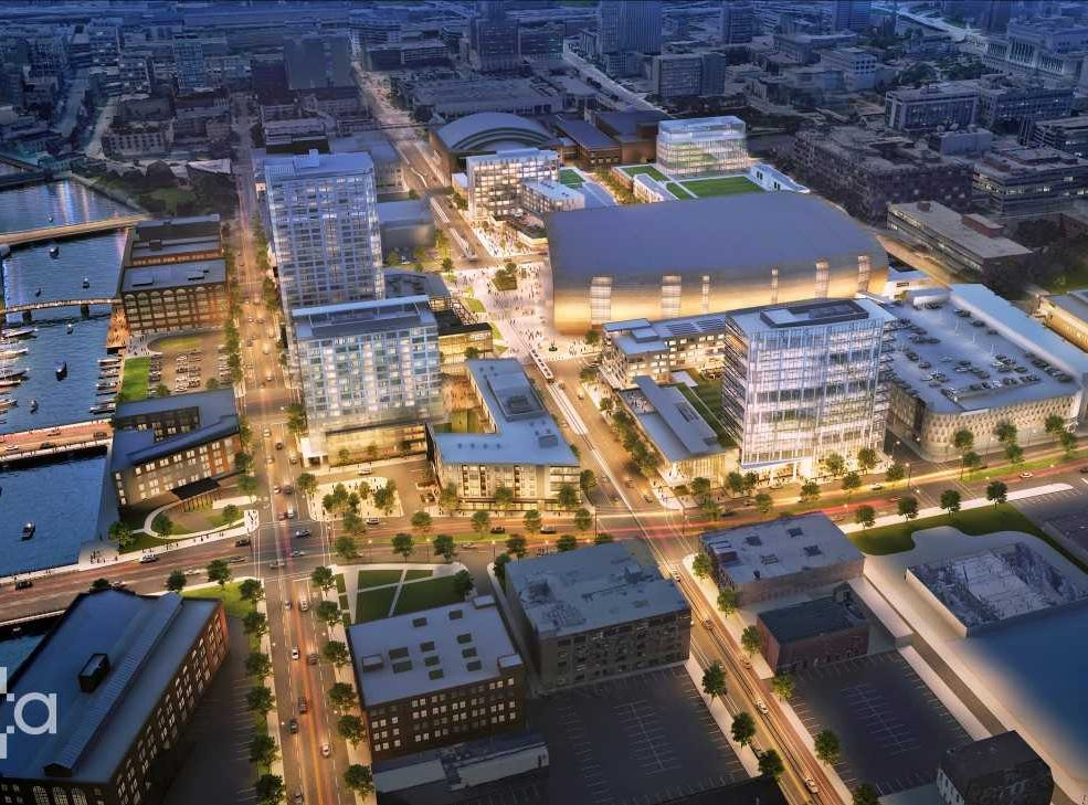 The next wave of development envisioned near the Fiserv Forum could include hotels, offices and apartments. This view is looking south with McKinley Boulevard in the foreground.