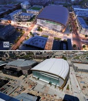 The next wave of development envisioned near the Fiserv Forum could include hotels, offices and apartments. This view looks west from North Old World Third Street. Turner Hall is in the lower left and UW-Milwaukee Panther Arena is in the upper left. The bottom image shows the former Bradley Center.