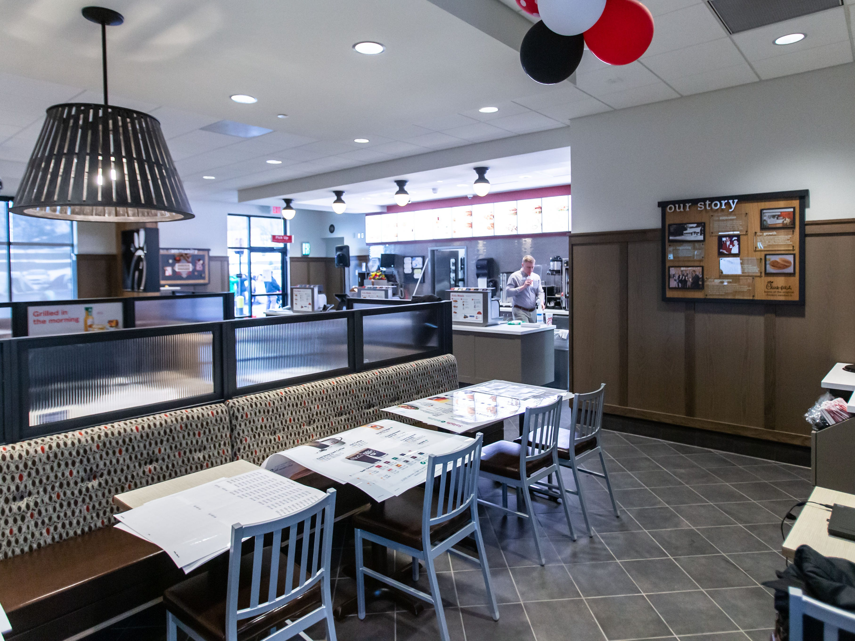 Employees prepare the new Chick-fil-A location at 1454 Capitol Dr. in Pewaukee on Wednesday, March 13, ahead of Thursday's grand opening.