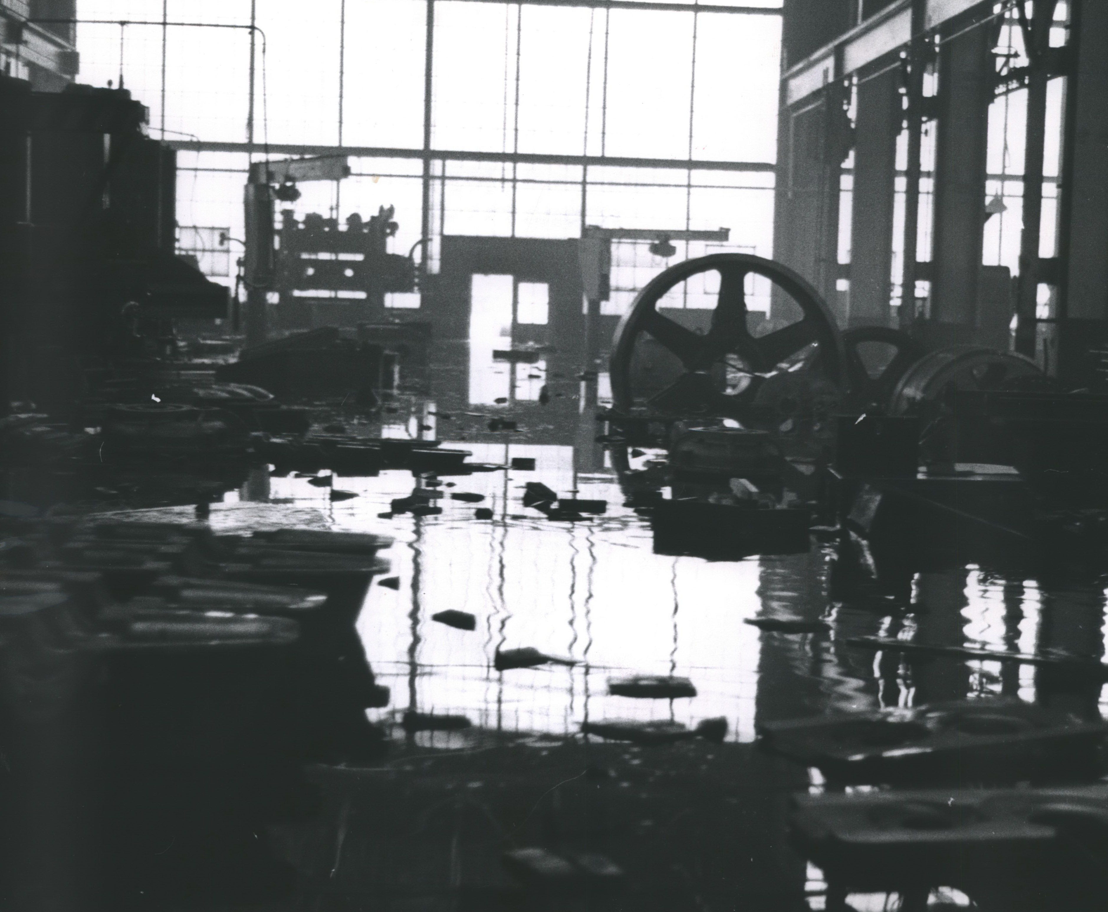 Water up to seven feet deep covers most of the machinery in the Falk Corp. plants on March 30, 1960. About 25 boats and canoes were used to rescue about 75 night shift workers after the rain-swollen Menomonee River poured into the plant at 3001 W. Canal St. This photo was published in the March 30, 1960, Milwaukee Journal.