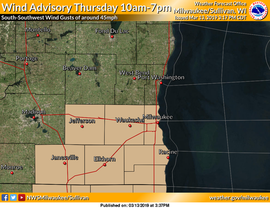 Gusty southwest winds will affect southern Wisconsin on Thursday, according to the National Weather Service.