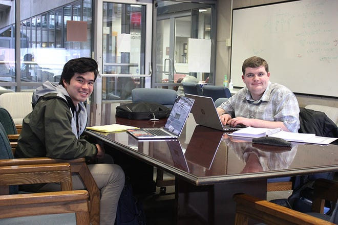 Mountain Home native Noah Nelson (right) and classmate Ian Spatz will represent the University of Arkansas Electrical Engineering Department at the upcoming Institute of Electrical and Electronics Engineers in Lafayette, La.
