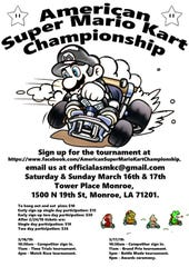 Flyers for the first annual American Super Mario Kart Championships to be hosted in Monroe, La. on March 16 and 17.