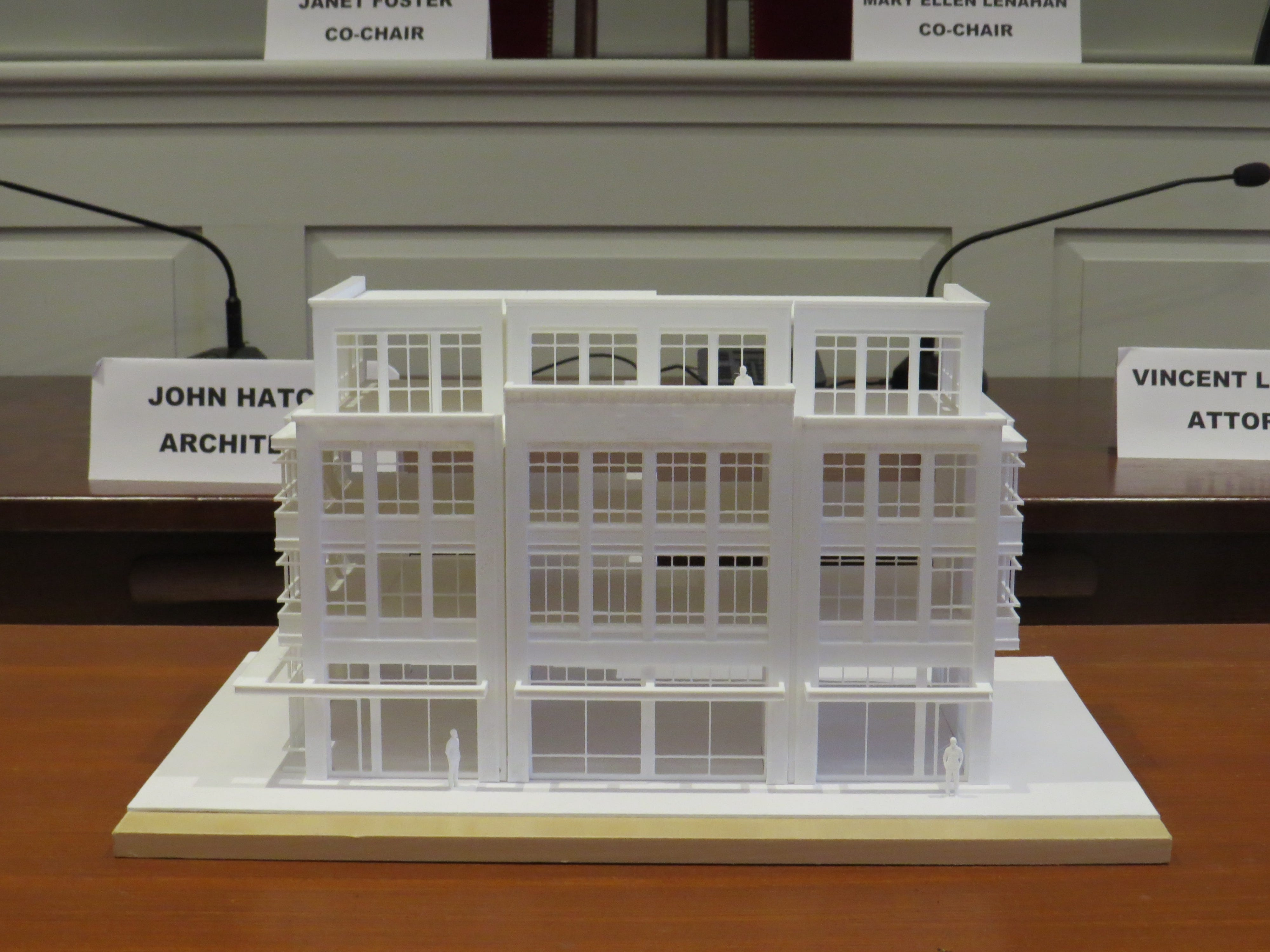A 3-D model of a proposed retail-residential building that would replace the Madison Theatre, seen at the Madison Historic Preservation Commission meeting March 12, 2019.