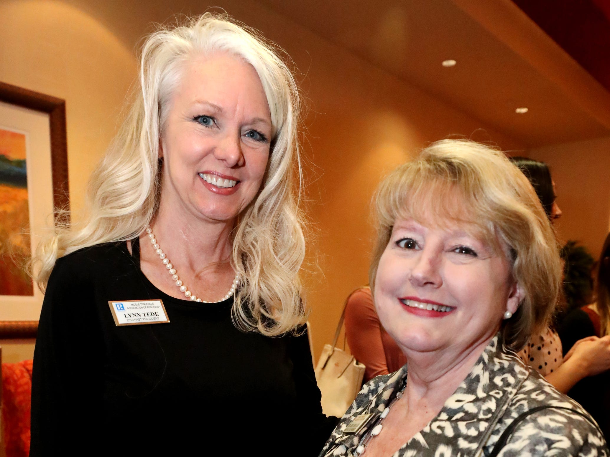 Lynn Tede, left, and Candy Joyce, right, at Murfreesboro Magazine's 2019 Women in Business Luncheon on Tuesday, March 12, 2019, at the Embassy Suites Murfreesboro.