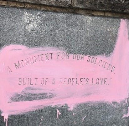Murfreesboro public square Confederate monument vandalized with pink paint