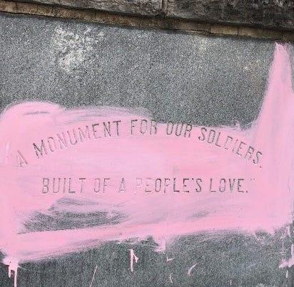 Murfreesboro public square Confederate monument vandalized with pink paint