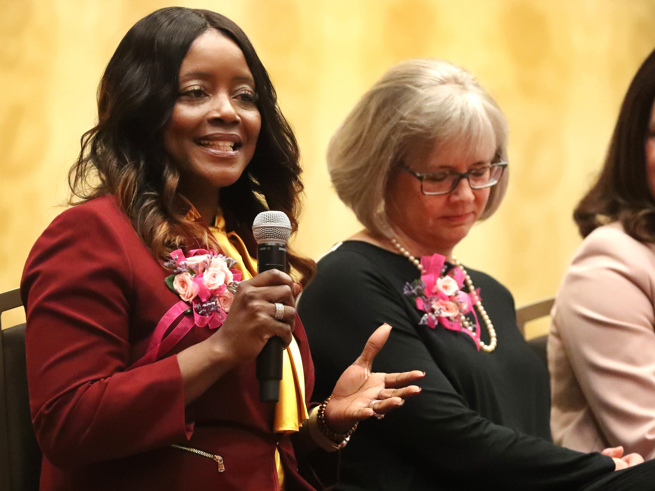 Honoree Novonda Lilly, Director of Talent Temp/Force and Executive Search at Vanderbilt University Medical Center, answers questions during the Murfreesboro Magazine's 2019 Women in Business Luncheon on Tuesday, March 12, 2019, at the Embassy Suites Murfreesboro.
