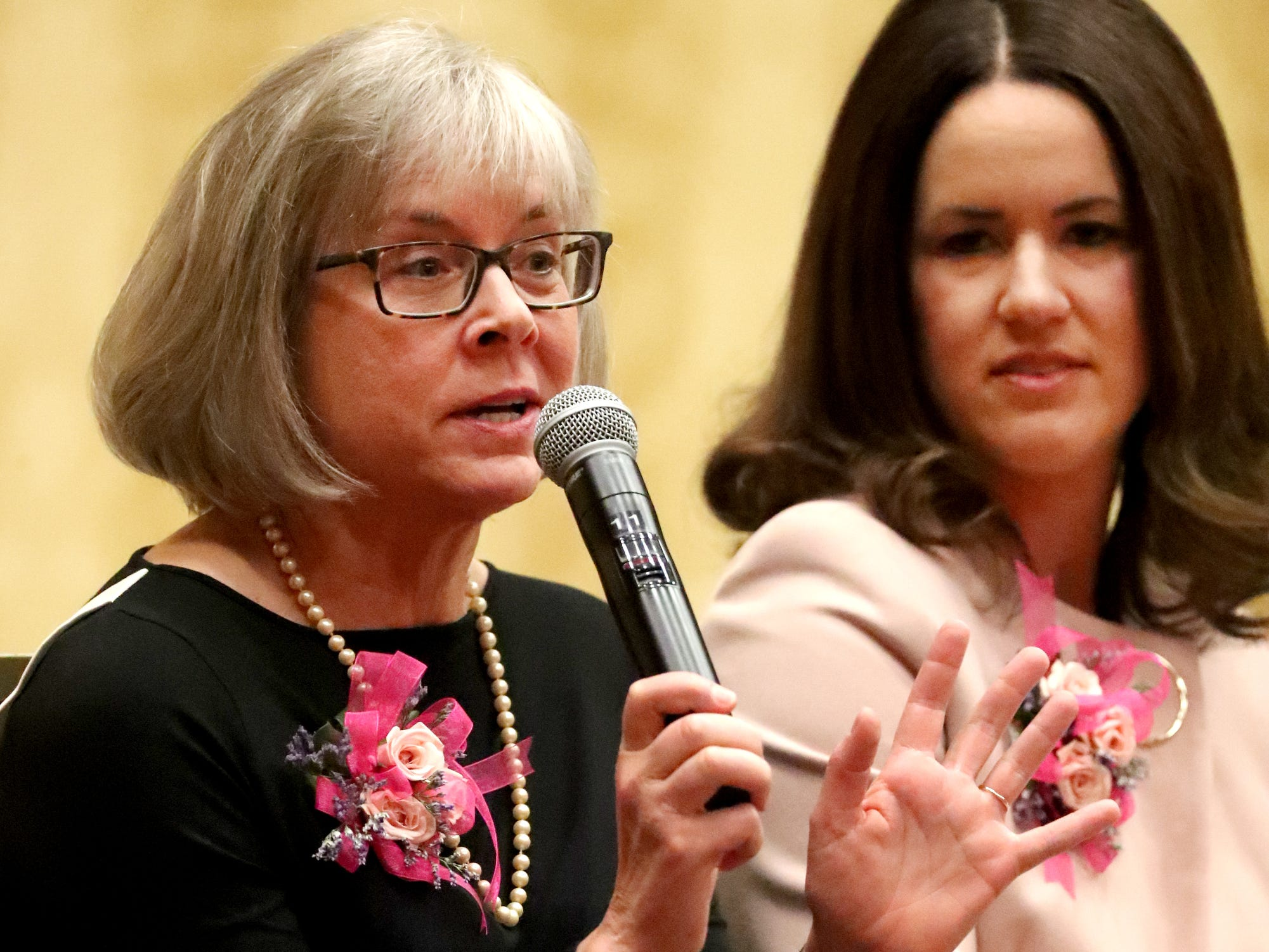 Honoree Debra Sells, Vice President for Student Affairs and Vice Provost for Enrollment Services at MTSU, answers questions during the Murfreesboro Magazine's 2019 Women in Business Luncheon on Tuesday, March 12, 2019, at the Embassy Suites Murfreesboro.