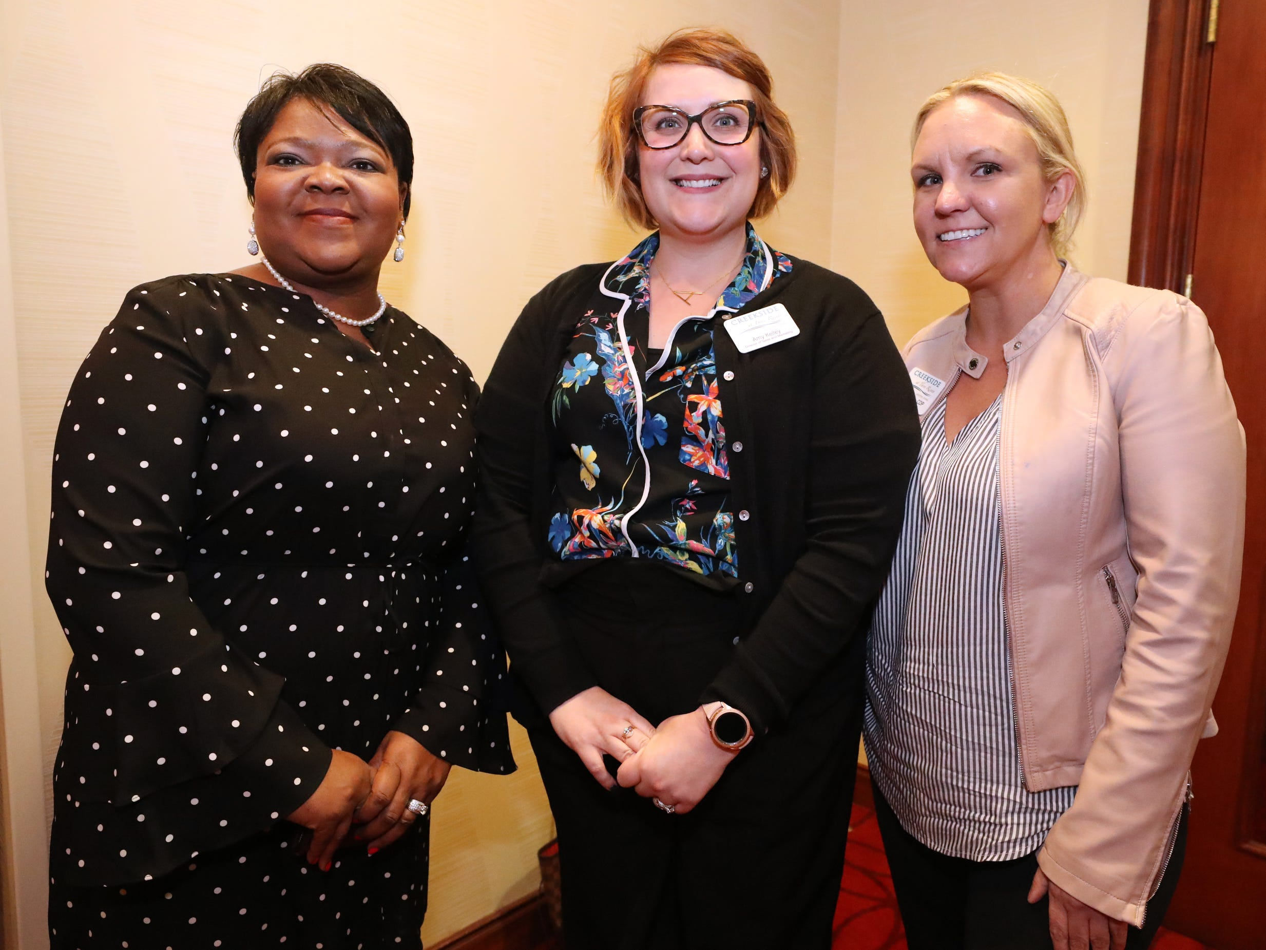 Sandra,Winfield, left, Amy Kelley, center, and Katy Keaxh  at Murfreesboro Magazine's 2019 Women in Business Luncheon on Tuesday, March 12, 2019, at the Embassy Suites Murfreesboro.