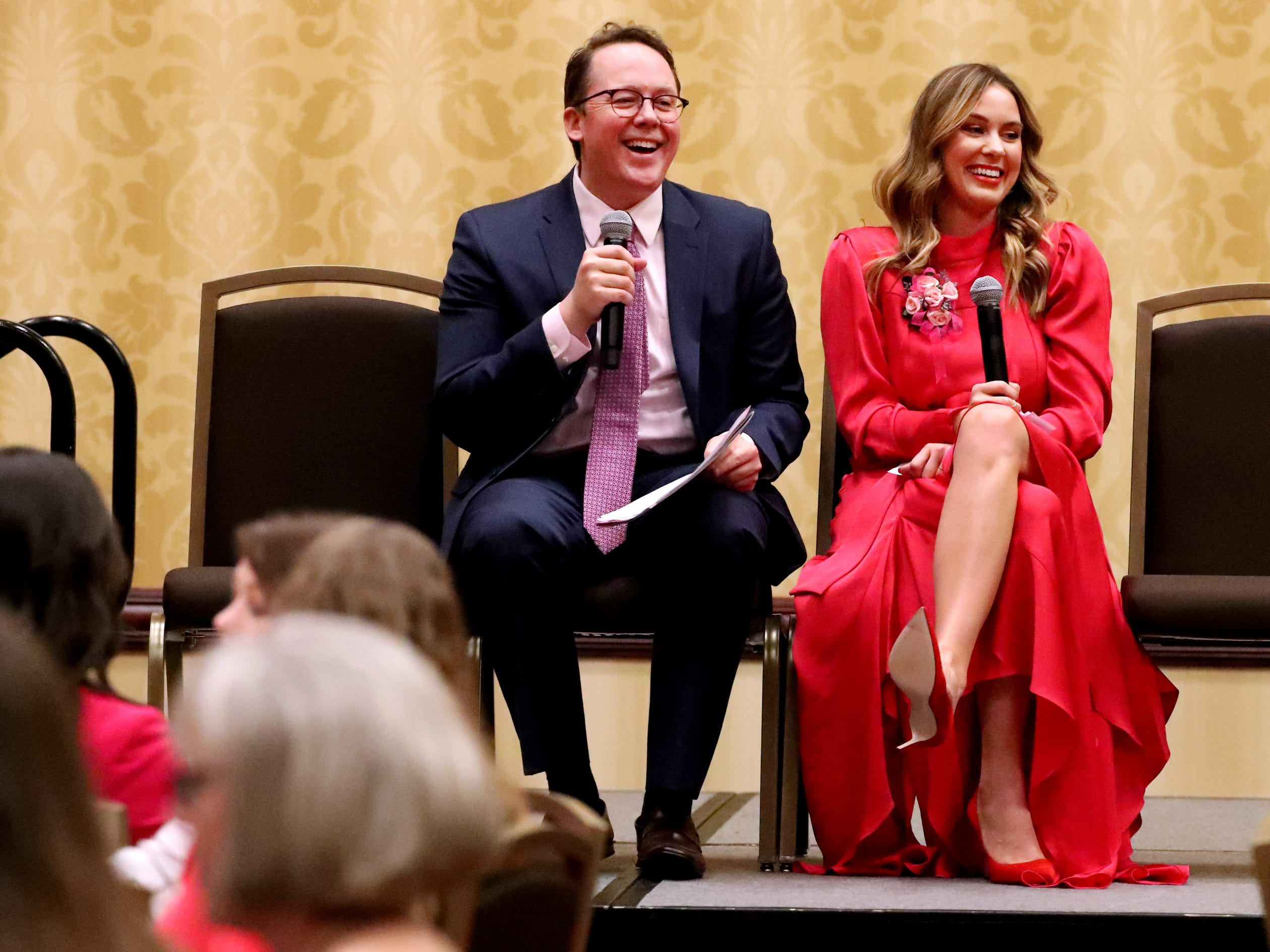 Brian Barry, Publisher of the Nashville Lifestyles and Murfreesboro Magazine., left asks questions of the keynote speaker Elizabeth Allen, owner of e.Allen boutiques during Murfreesboro Magazine's 2019 Women in Business Luncheon on Tuesday, March 12, 2019, at the Embassy Suites Murfreesboro.