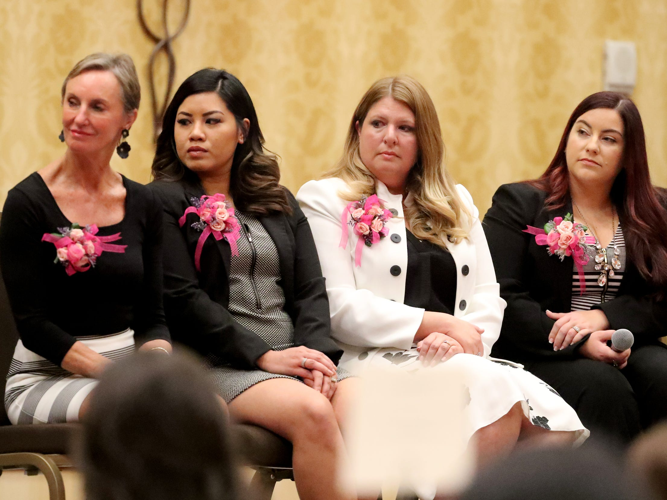 Honorees Dr. Elizabeth Laroche, Amy Jennings, Ladawna Parham, and Rebecca Goodwin, listen to answers to questions by other honorees during the Murfreesboro Magazine's 2019 Women in Business Luncheon on Tuesday, March 12, 2019, at the Embassy Suites Murfreesboro.