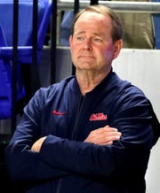 Current Ole Miss coach and Former MTSU Mens Coach Kermit Davis watches the Brainerd vs. Pearl-Cohn game during the quarterfinal round of the TSSAA Class AAA Boys State Tournament, on Wednesday, March 13, 2019, at Murphy Center in Murfreesboro, Tenn.
