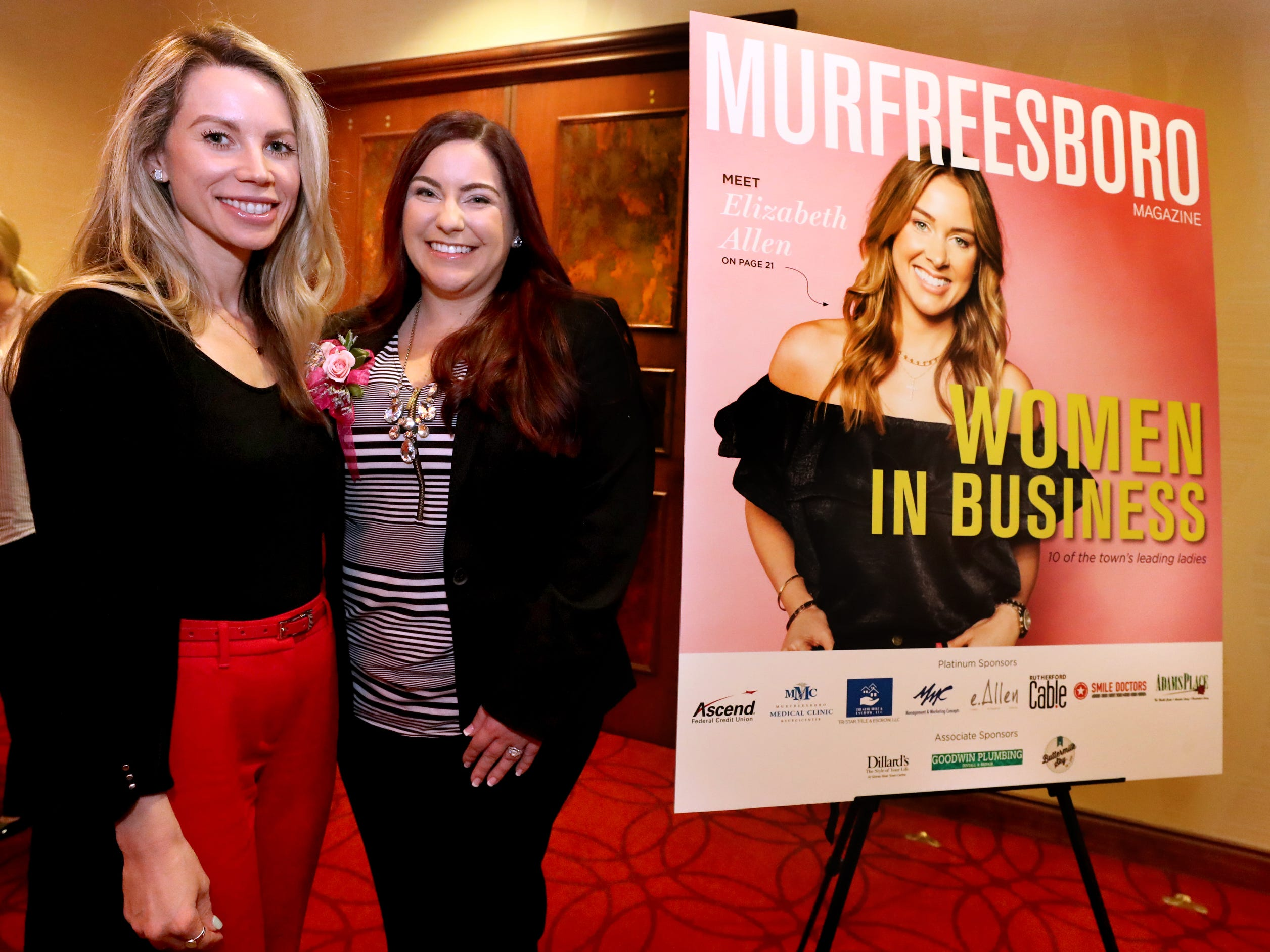 Carly Smith, left, and Becca Goodwin, right, at Murfreesboro Magazine's 2019 Women in Business Luncheon on Tuesday, March 12, 2019, at the Embassy Suites Murfreesboro.