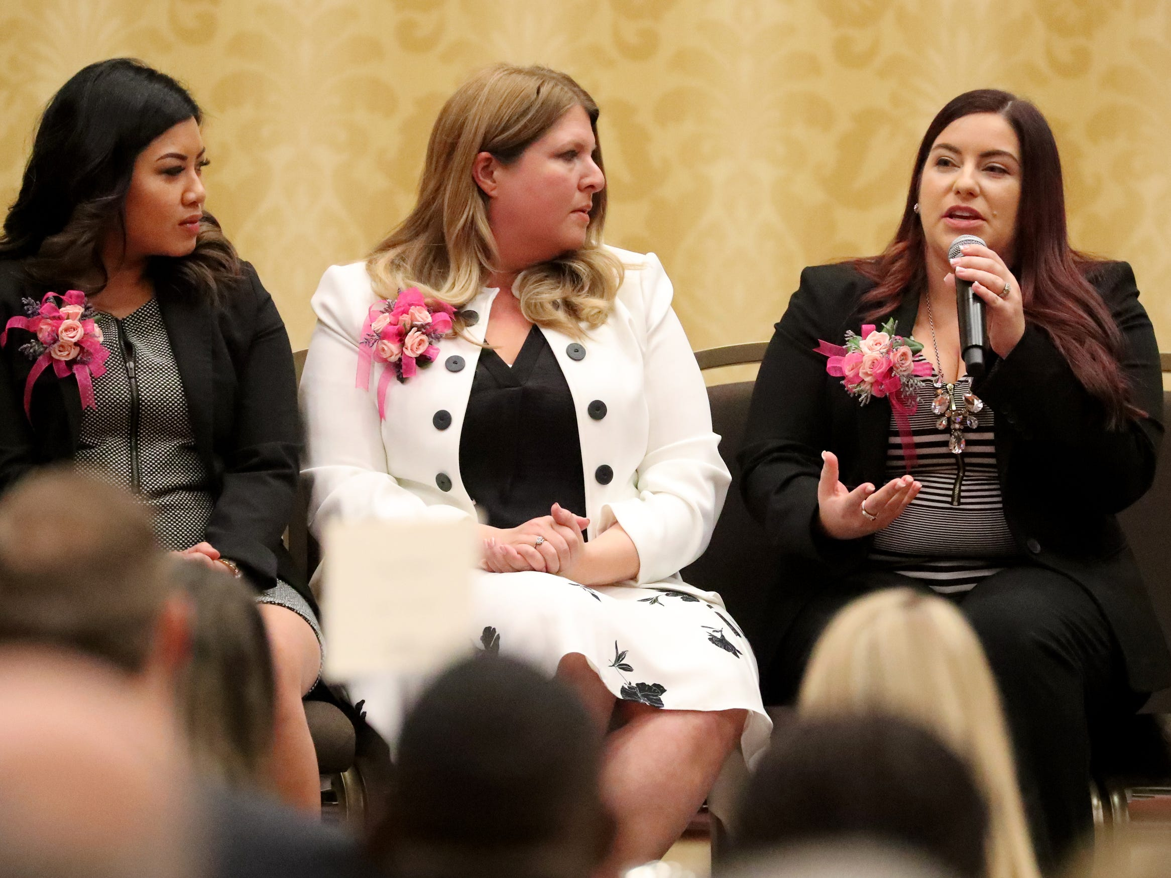 Honoree Rebecca Goodwin, Co-owner and Office Manager of Goodwin Plumbing, answers questions during the Murfreesboro Magazine's 2019 Women in Business Luncheon on Tuesday, March 12, 2019, at the Embassy Suites Murfreesboro.
