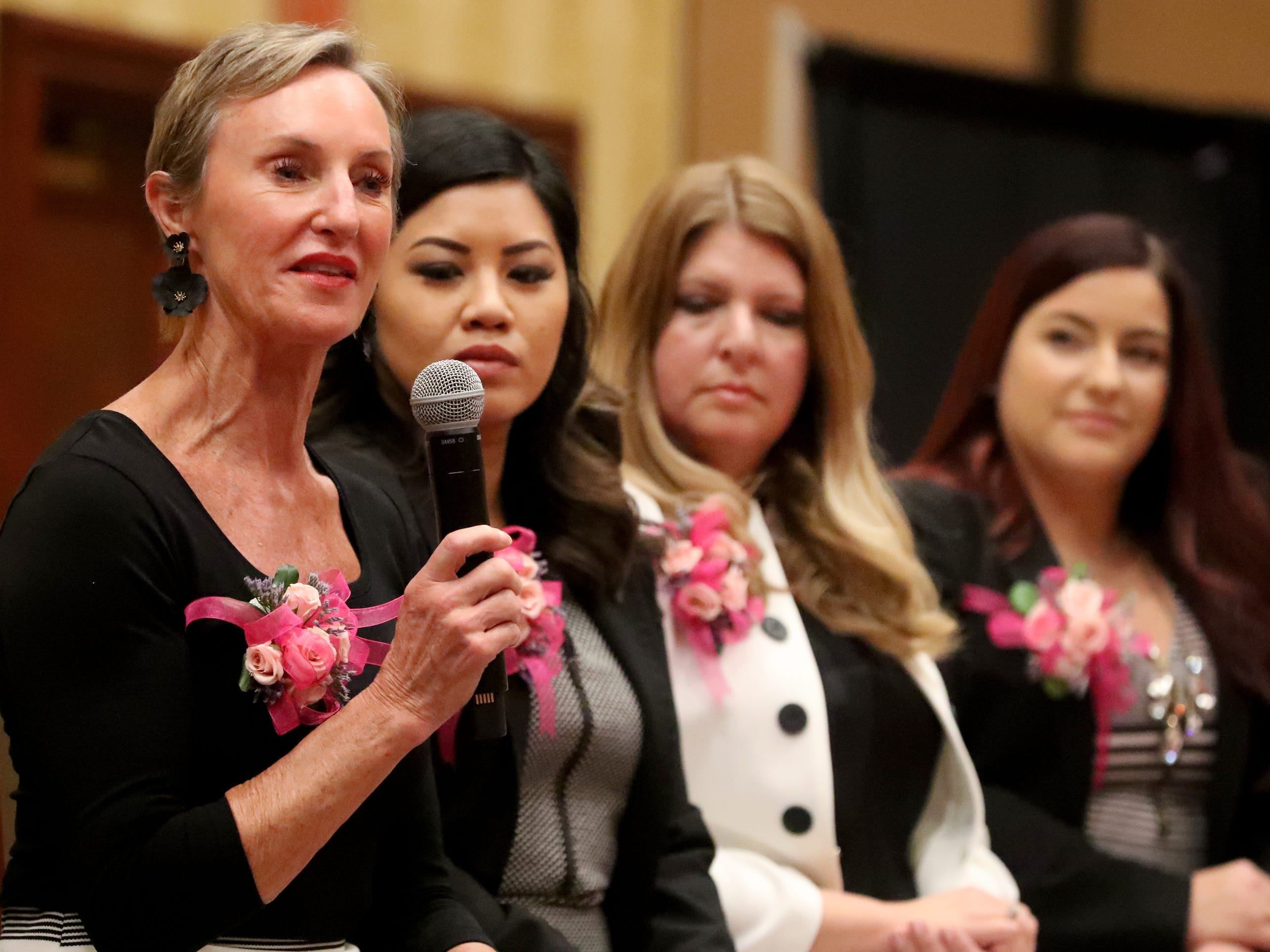Honoree Dr. Elizabeth Laroche, M.D. at Mid-TN-GYN and Owner of Body and Face answers questions during the Murfreesboro Magazine's 2019 Women in Business Luncheon on Tuesday, March 12, 2019, at the Embassy Suites Murfreesboro.
