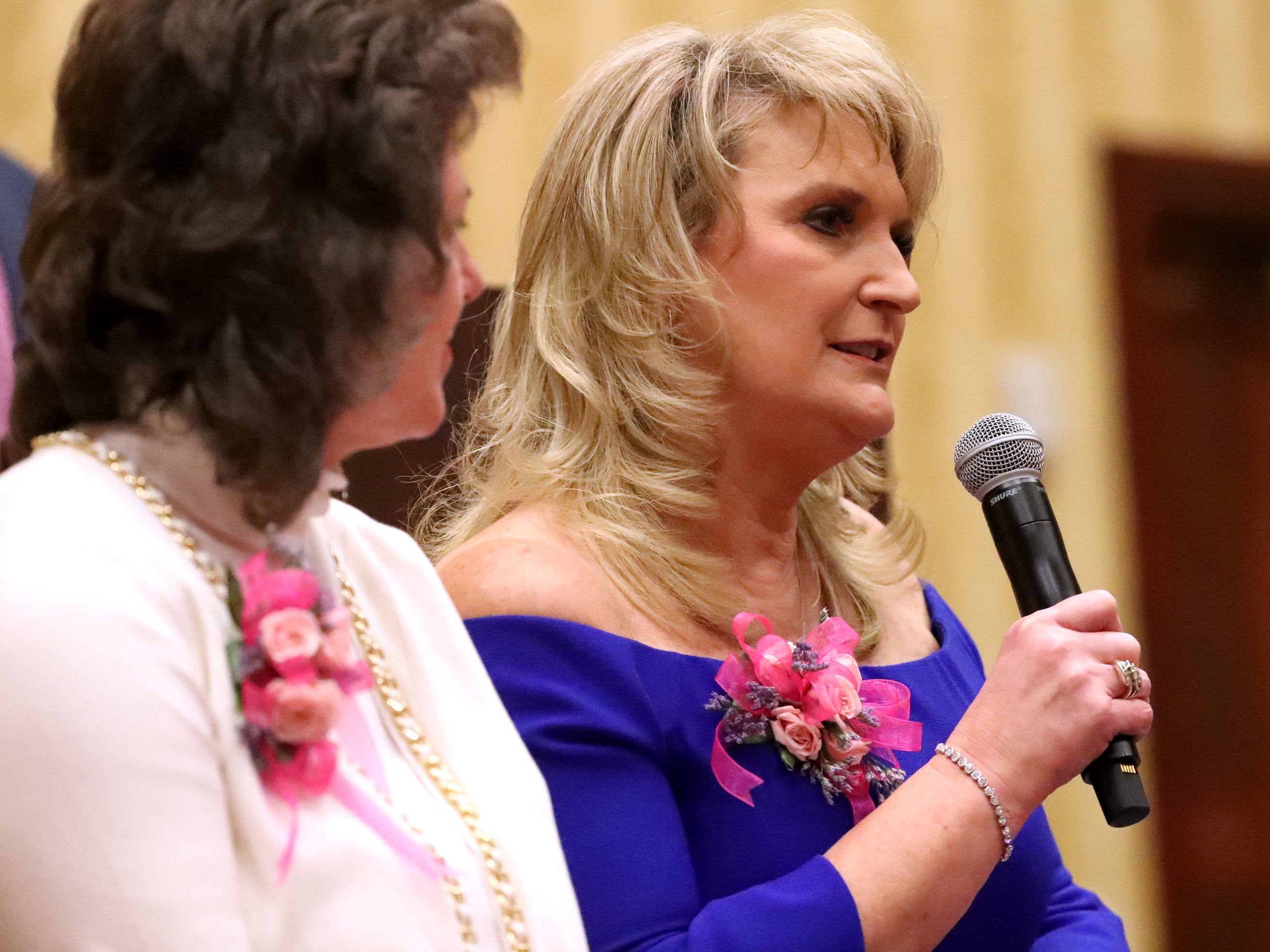 Honoree Sheri Morgan, owner of Tri Star Title and Escrow, answers questions during the Murfreesboro Magazine's 2019 Women in Business Luncheon on Tuesday, March 12, 2019, at the Embassy Suites Murfreesboro.