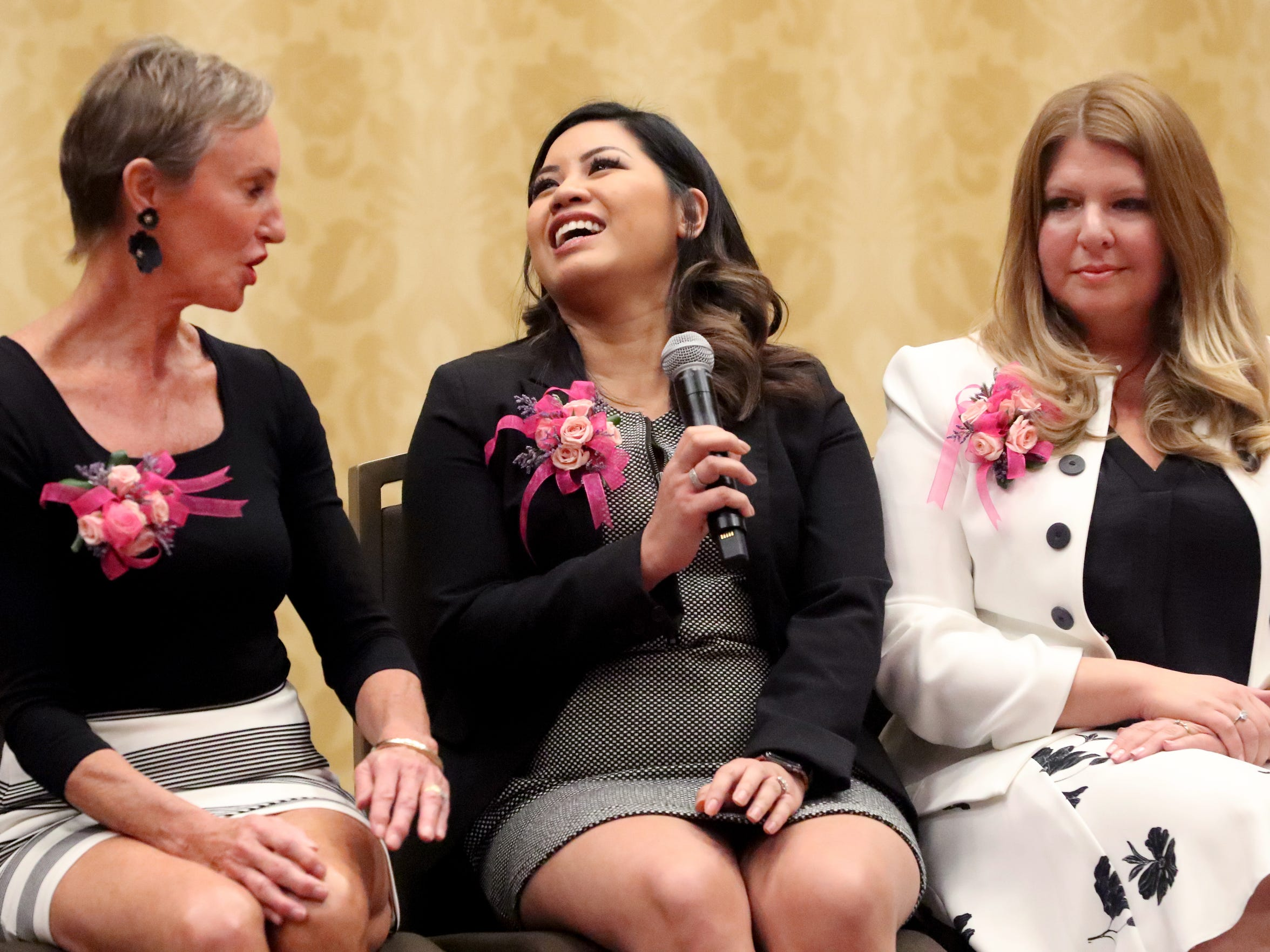 Honoree Amy Jennings, owner of The Nail Room at Beehive Salon, answers questions during the Murfreesboro Magazine's 2019 Women in Business Luncheon on Tuesday, March 12, 2019, at the Embassy Suites Murfreesboro.