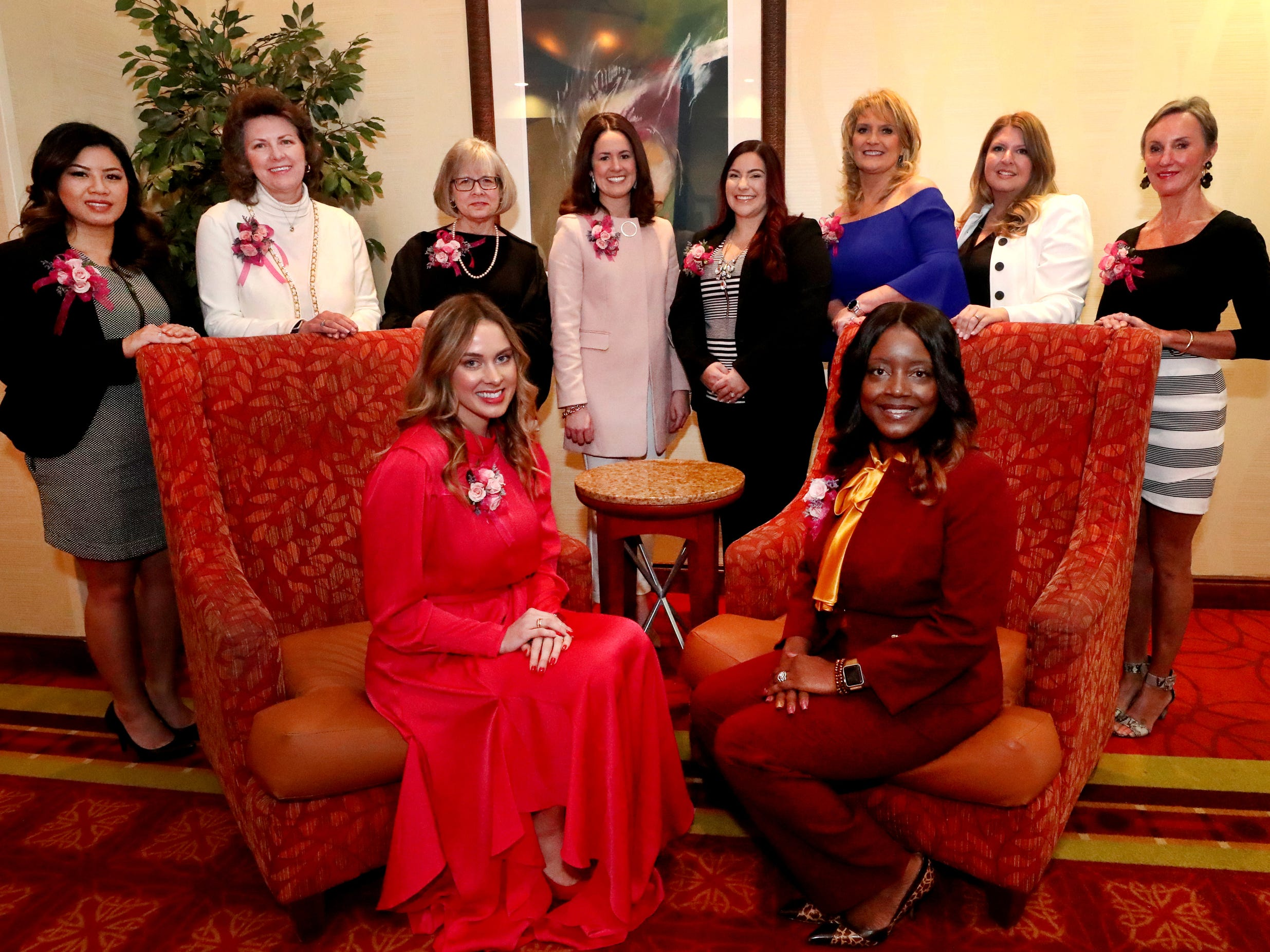 Ten women were recognized by Murfreesboro Magazine during the 2019 Women in Business Luncheon on Tuesday, March 12, 2019, at the Embassy Suites Murfreesboro. (L to R) Elizabeth Allen, owner of e.Allen boutiques, Novonda Lilly, Director of Talent Temp/Force and Executive Search at Vanderbilt University Medical Center. Back Row (L to R)Amy Jennings, owner of The Nail Room at Beehive Salon, Melissa Blair Wrigh, City Recorder, Treasure and Finance Director of the City of Murfreesboro ,Debra Sells, Vice President for Student Affairs and Vice Provost for Enrollment Services at MTSU, Megan Bynum, certified Financial Planner, Rebecca Goodwin, Co-owner and Office Manager of Goodwin Plumbing, Sheri Morgan, owner of Tri Star Title and Escrow, Ladawna Parham, Executive Director at Nourish Food Bank and Dr. Elizabeth Laroche, M.D. at Mid-TN-GYN and Owner of Body and Face
