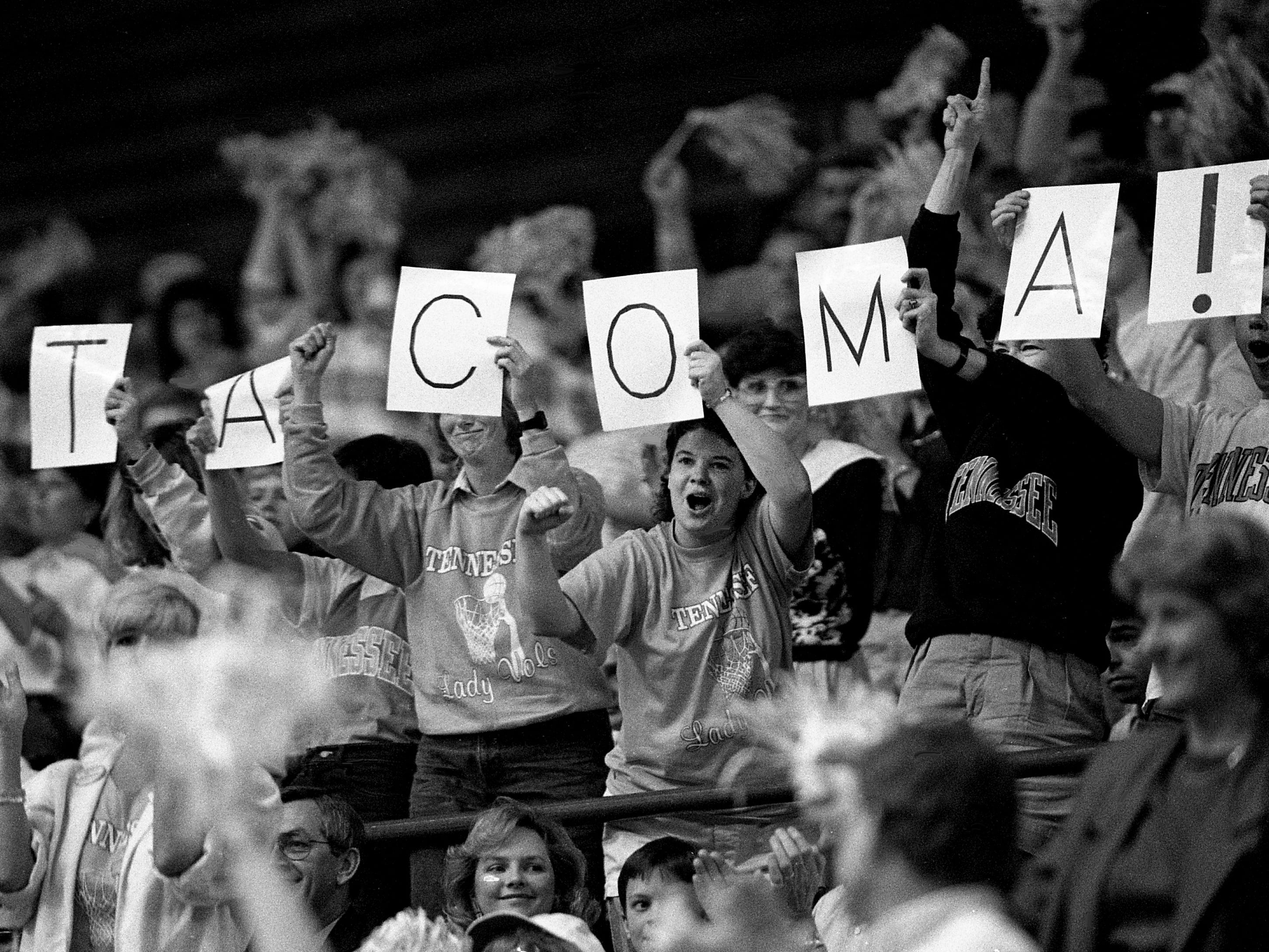 Tennessee fans at Western Kentucky's Diddle Arena on March 25, 1989, spell out the next destination for the Lady Vols, the Final Four in Tacoma, Washington, after their 94-80 victory over Long Beach State in the NCAA East Regional championship game.