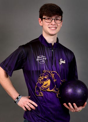 Josh Meeke, a senior bowler from Smyrna High School, on Tuesday, March 12, 2019.