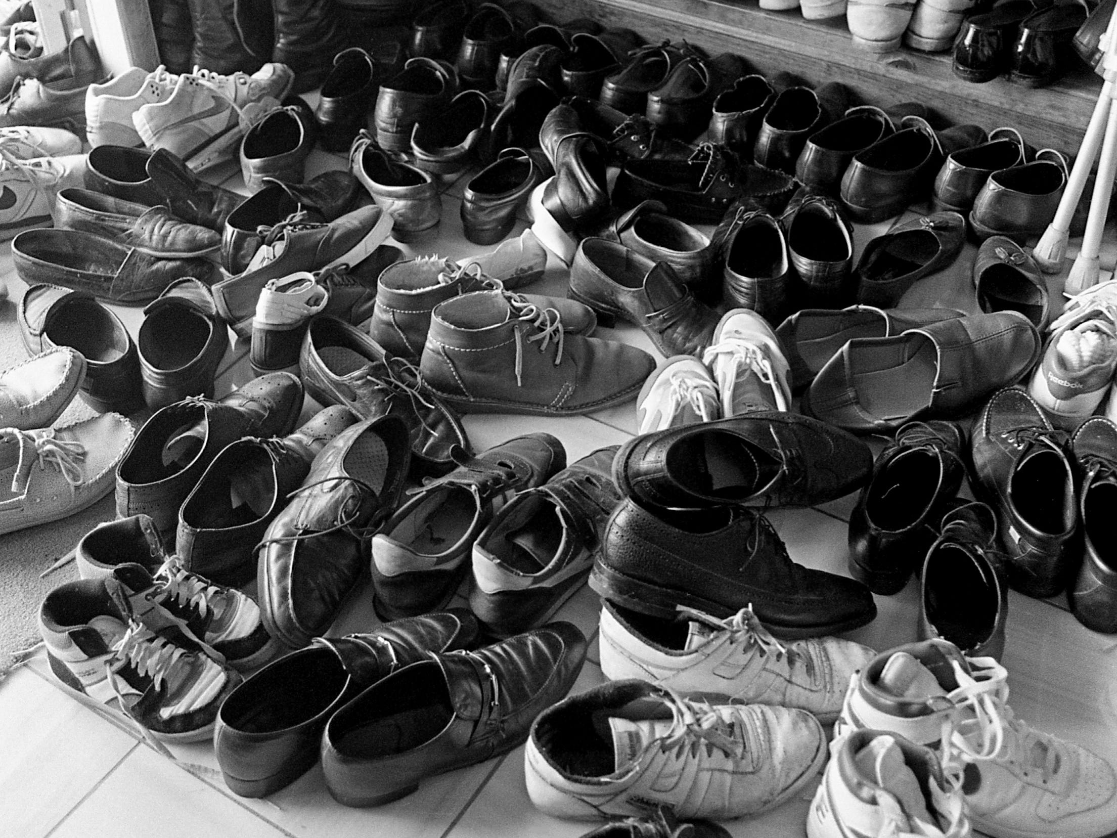 Nearly 300 pair of shoes wait at the door during the opening ceremony for the new Islamic Center on 12th Ave. S., March 31, 1989. The $180,000 building was designed by a local Muslim architect and is the first mosque built expressly to serve Nashville's growing population.